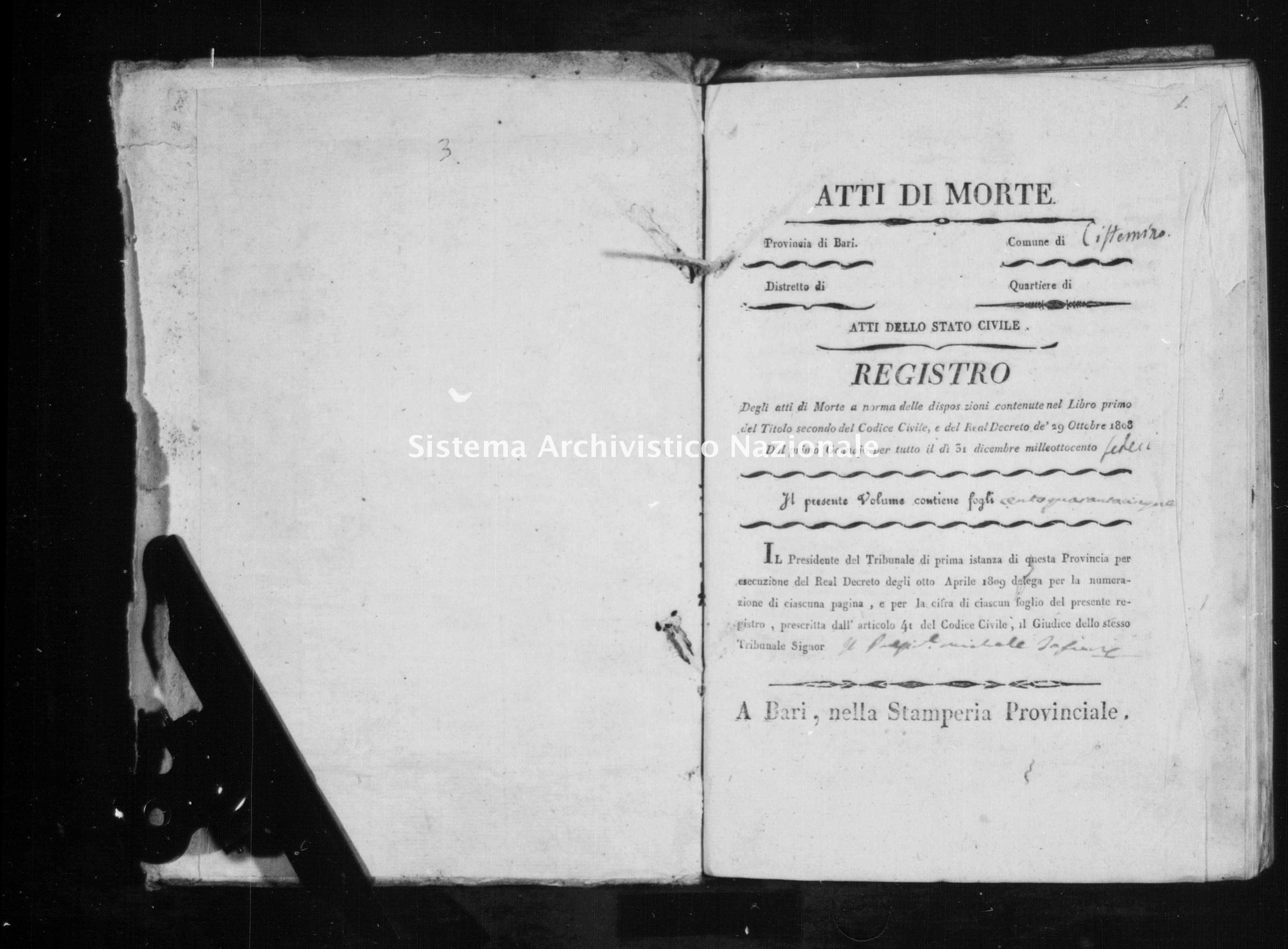 Archivio di stato di Bari - Stato civile della restaurazione - Cisternino - Morti - 1816 -
