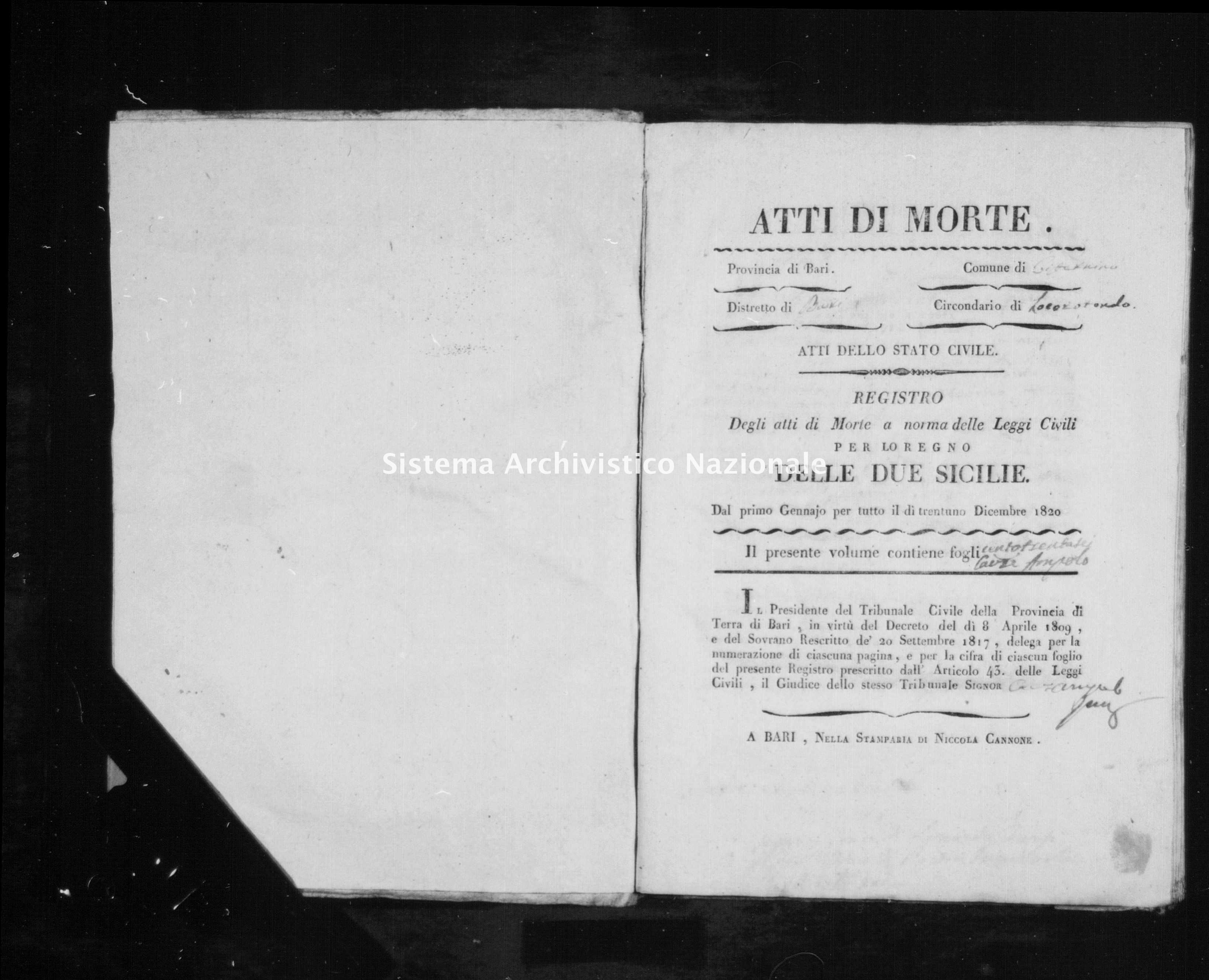Archivio di stato di Bari - Stato civile della restaurazione - Cisternino - Morti - 1820 -