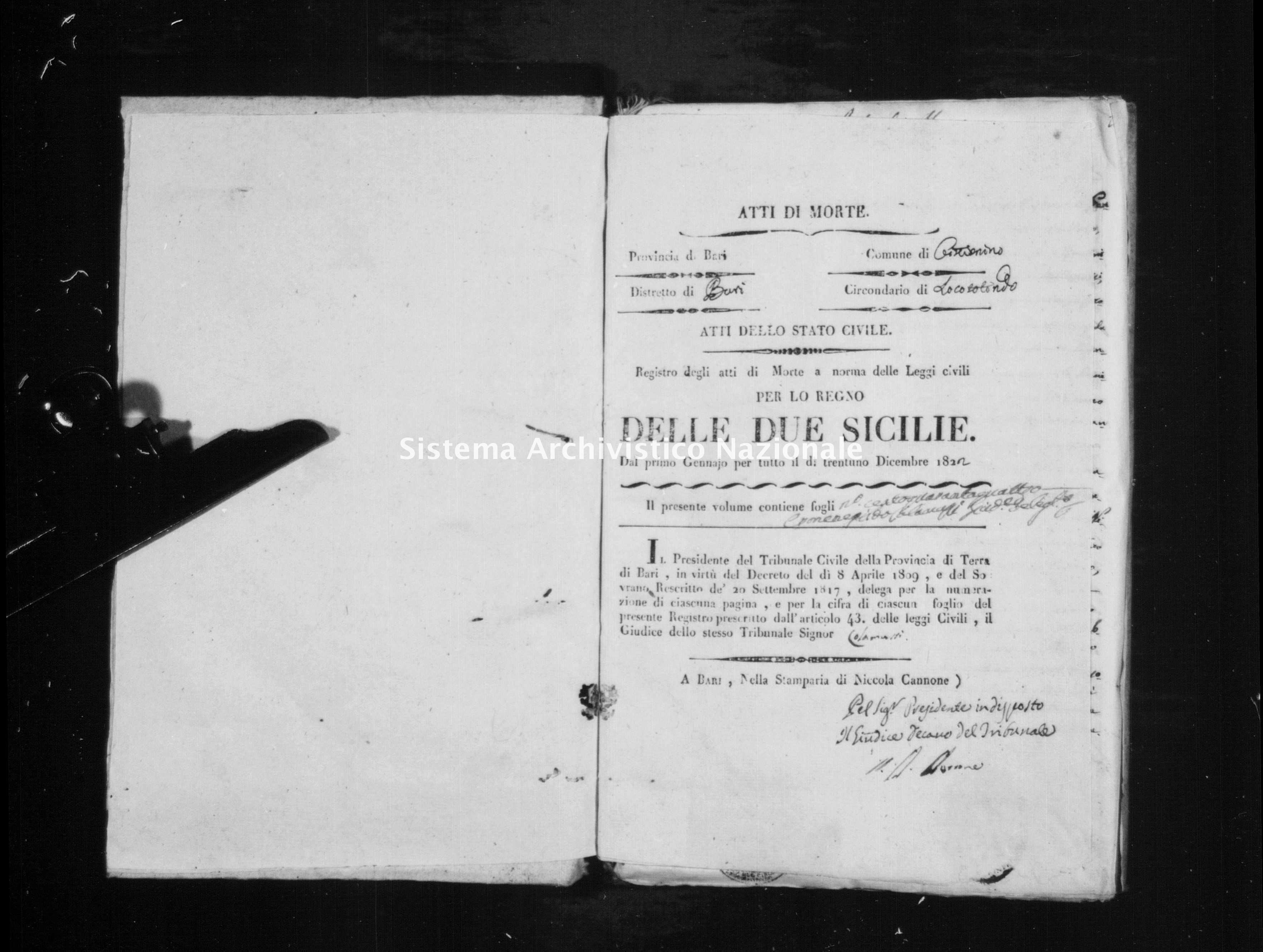 Archivio di stato di Bari - Stato civile della restaurazione - Cisternino - Morti - 1822 -