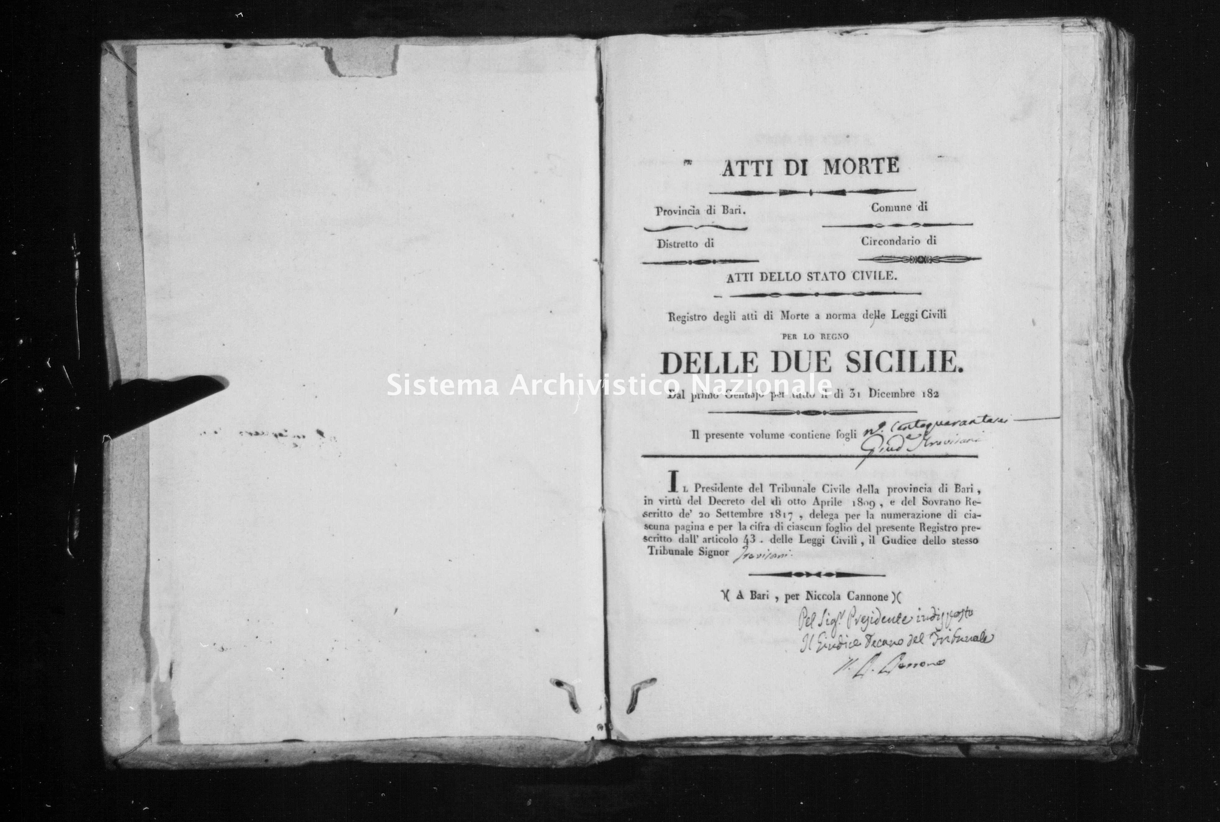 Archivio di stato di Bari - Stato civile della restaurazione - Cisternino - Morti - 1823 -