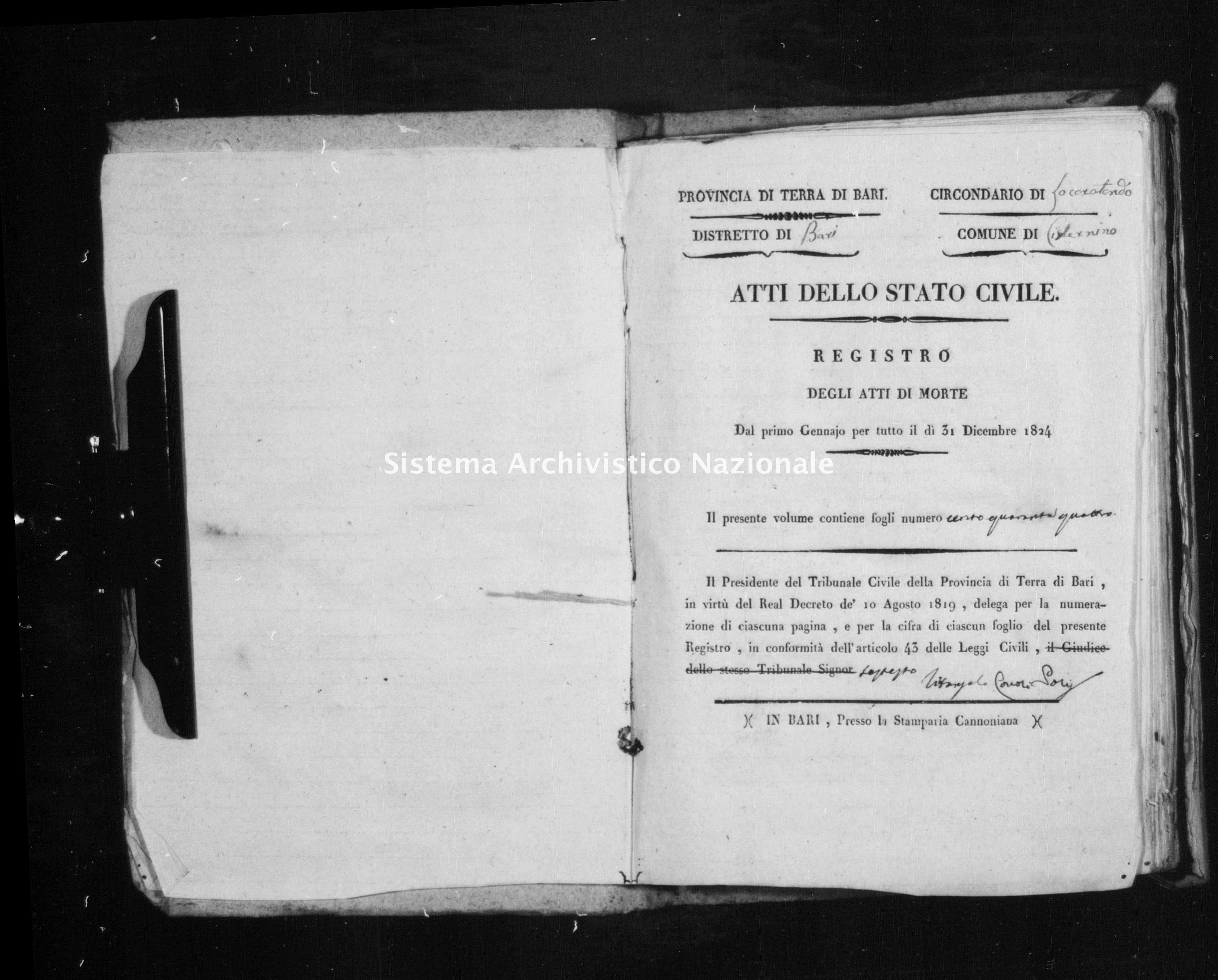 Archivio di stato di Bari - Stato civile della restaurazione - Cisternino - Morti - 1824 -