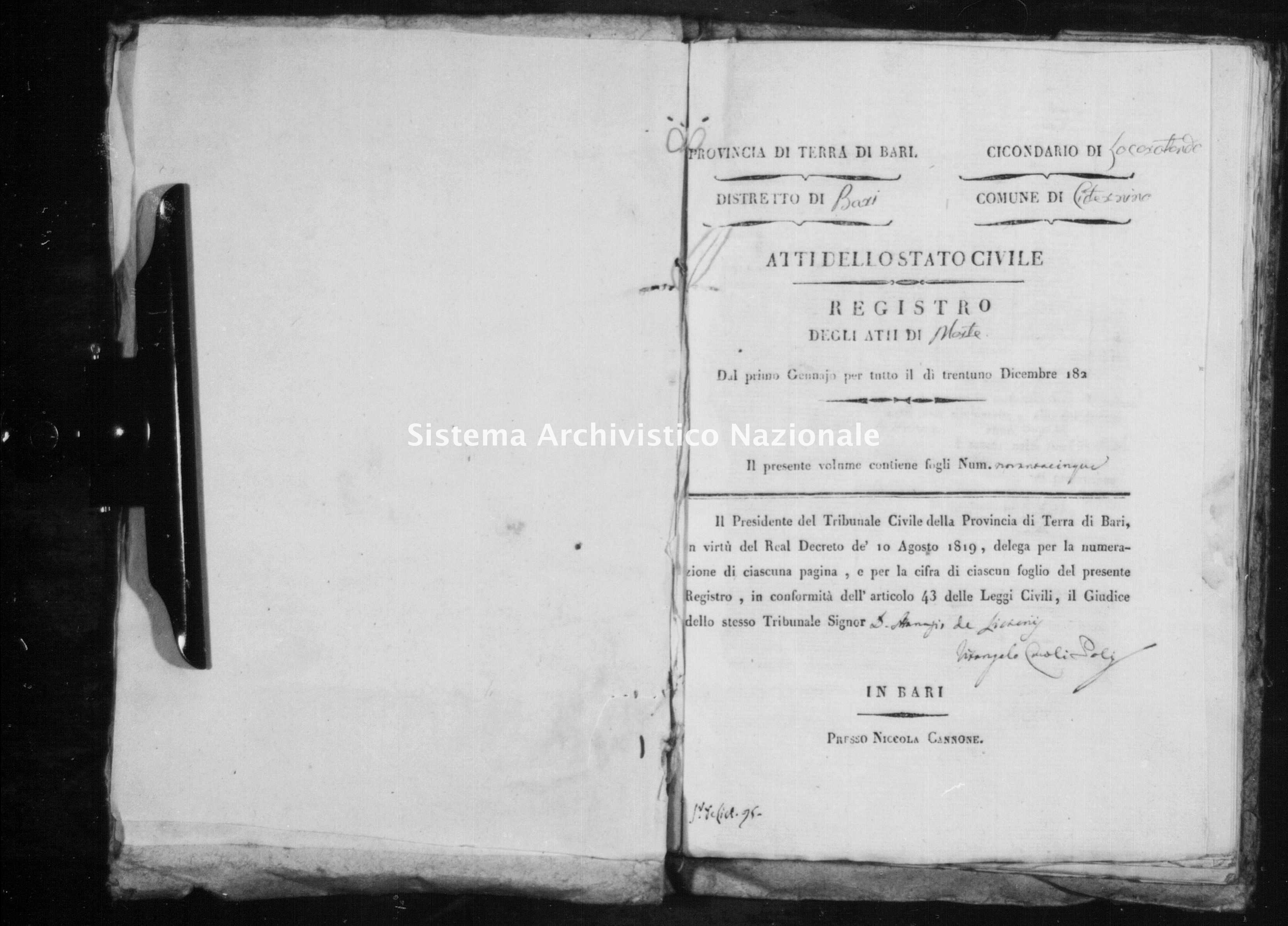 Archivio di stato di Bari - Stato civile della restaurazione - Cisternino - Morti - 1825 -