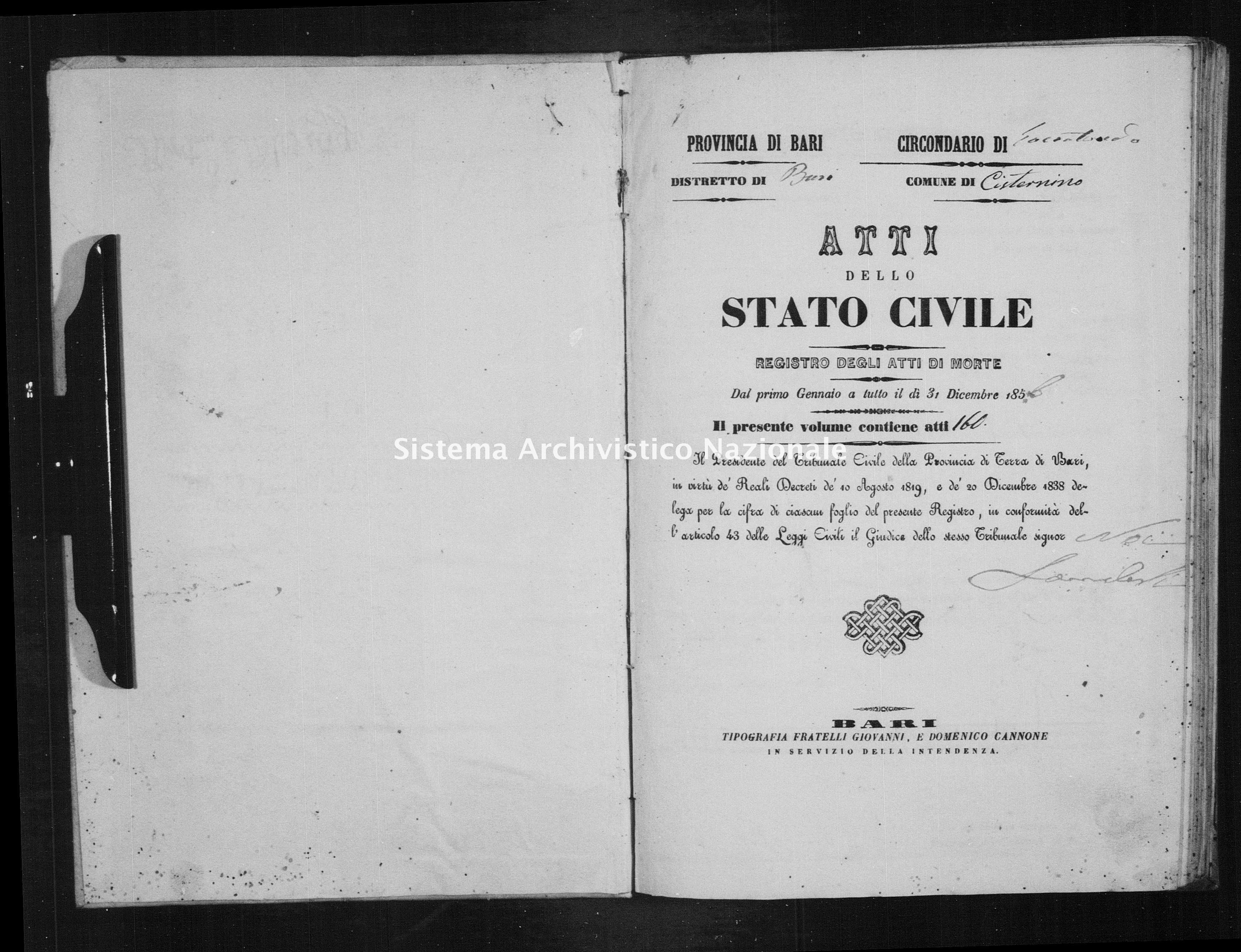Archivio di stato di Bari - Stato civile della restaurazione - Cisternino - Morti - 1856 -