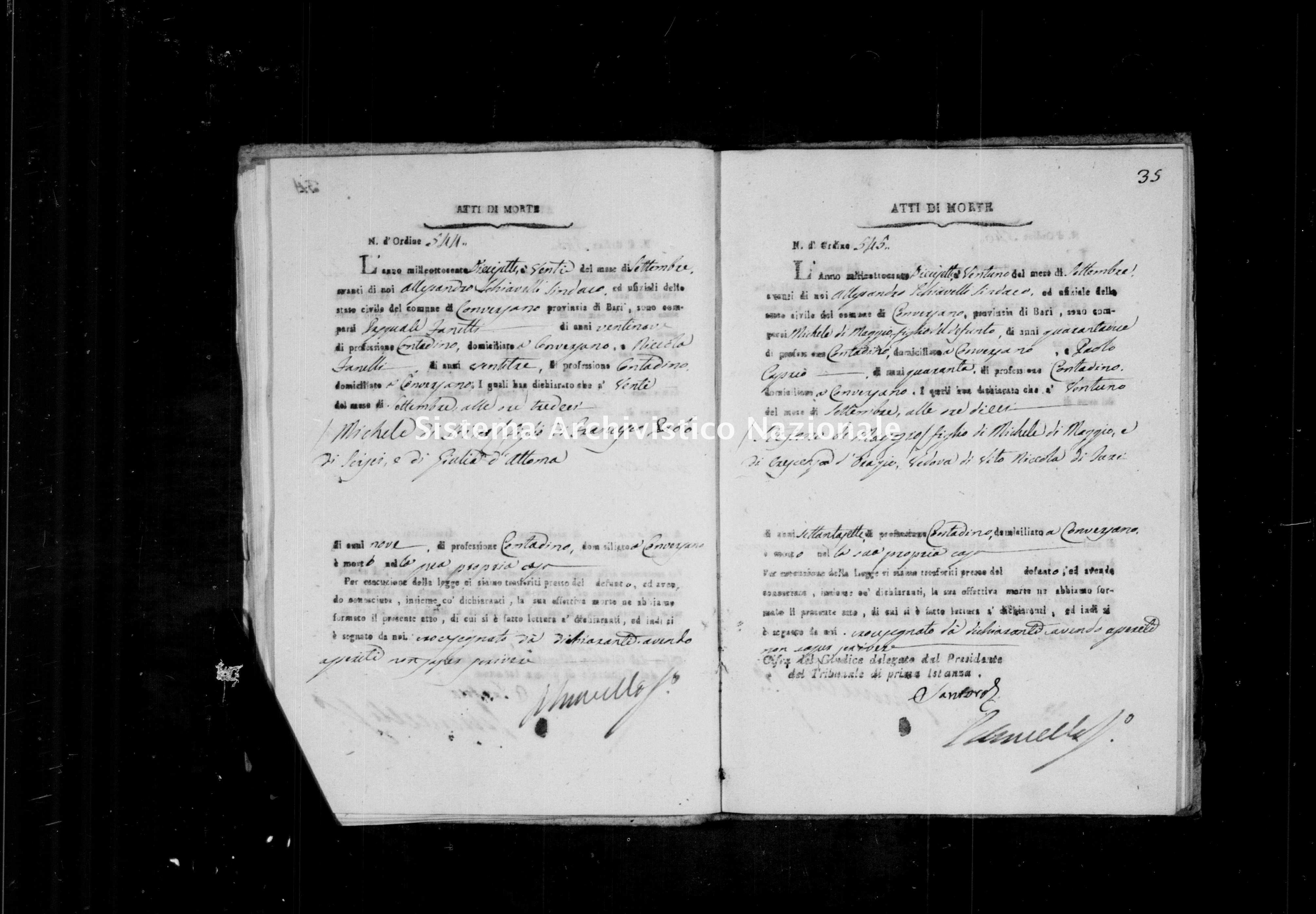 Archivio di stato di Bari - Stato civile della restaurazione - Conversano - Morti - 1817 -