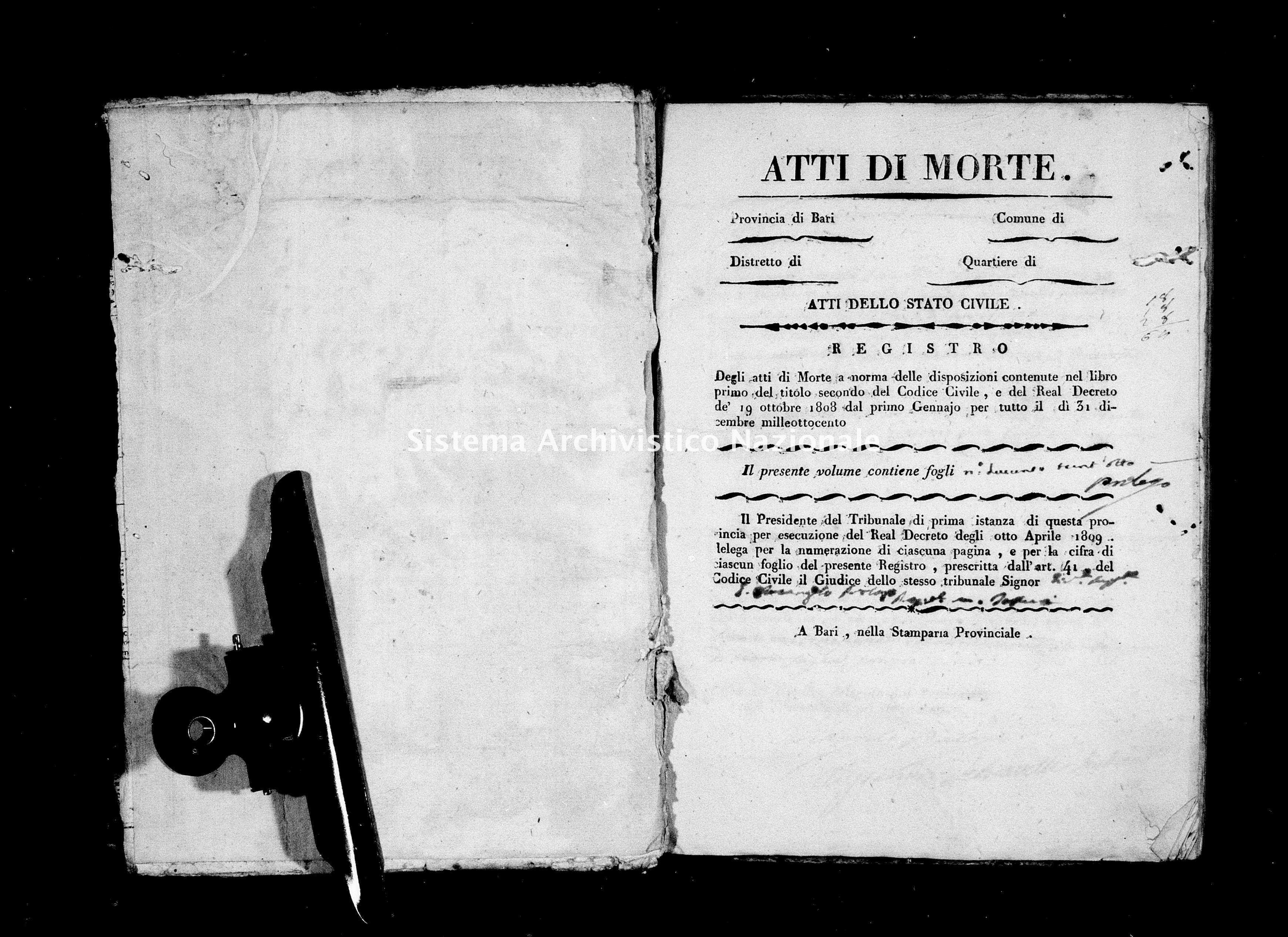 Archivio di stato di Bari - Stato civile della restaurazione - Conversano - Morti - 1817 - Parte 1 -