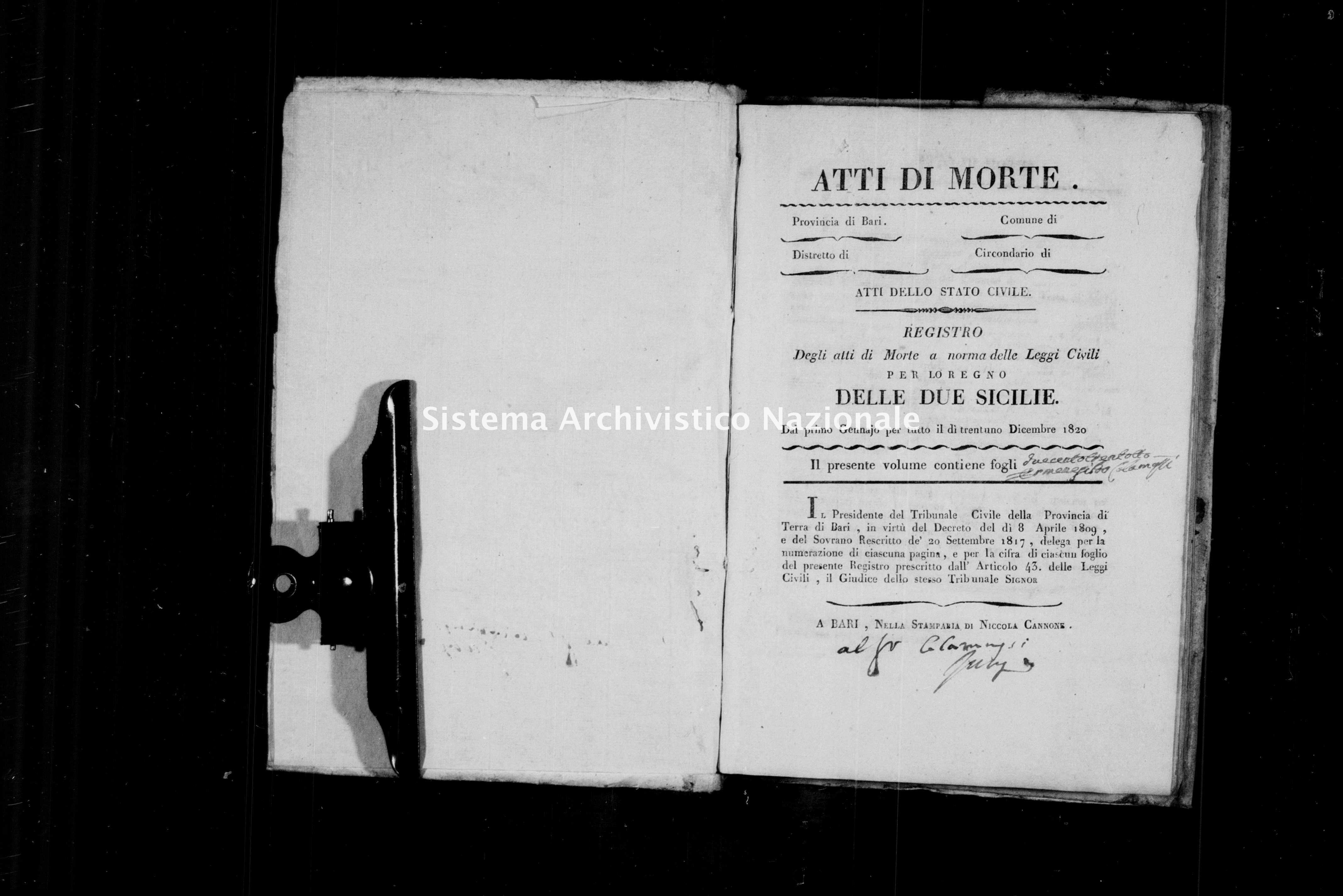 Archivio di stato di Bari - Stato civile della restaurazione - Conversano - Morti - 1820 -