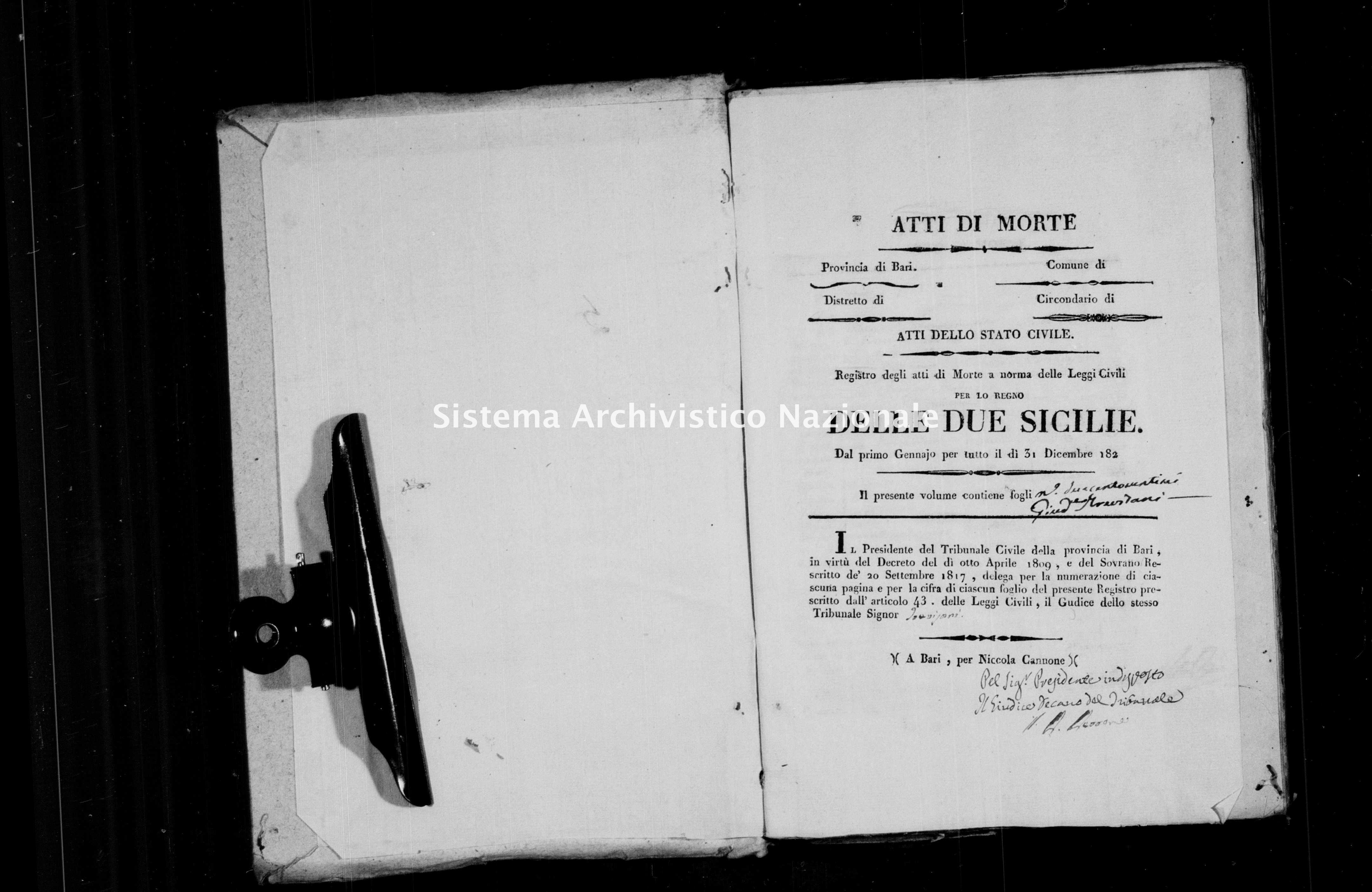 Archivio di stato di Bari - Stato civile della restaurazione - Conversano - Morti - 1823 -