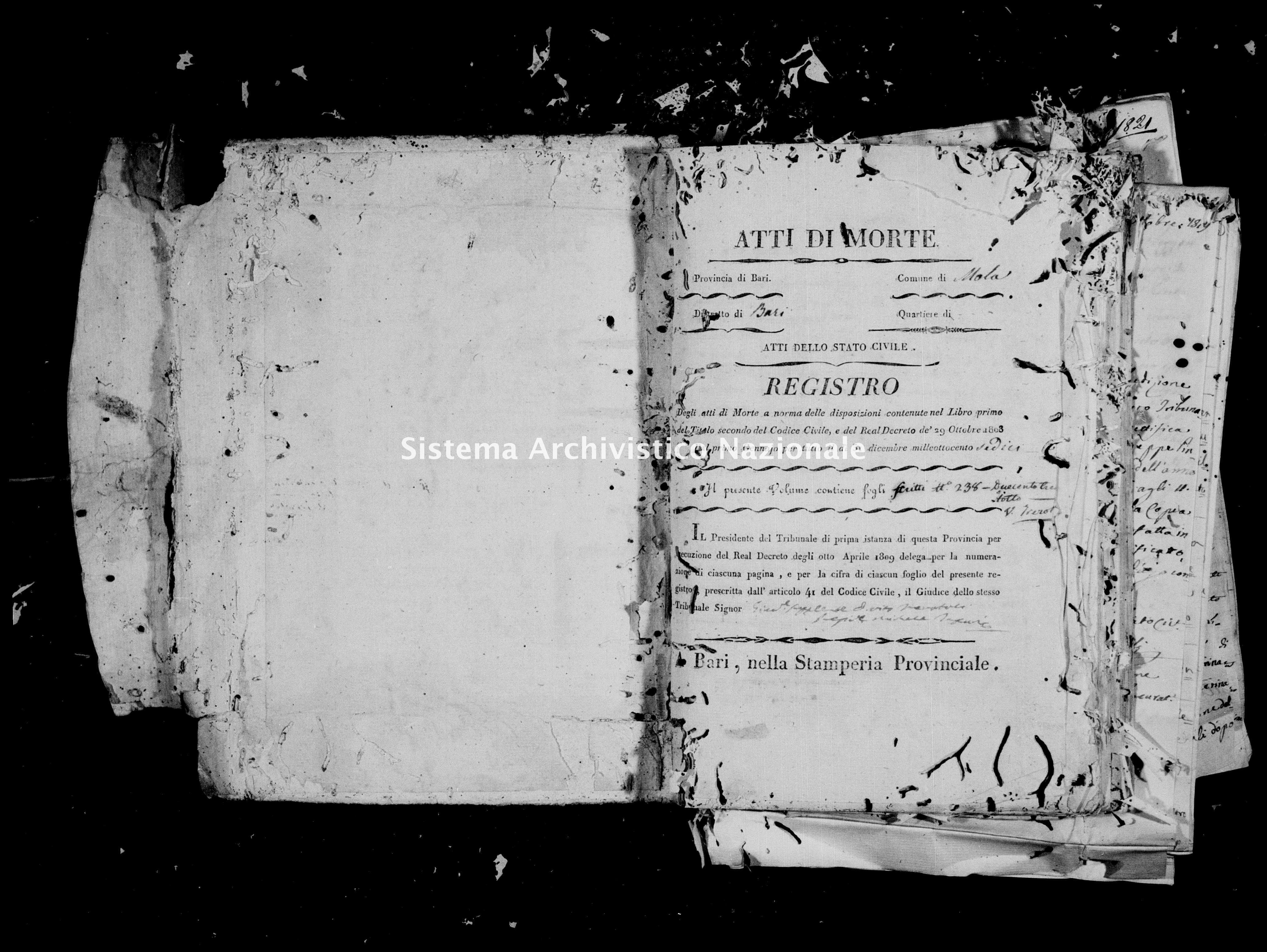 Archivio di stato di Bari - Stato civile della restaurazione - Mola - Morti - 1816 -