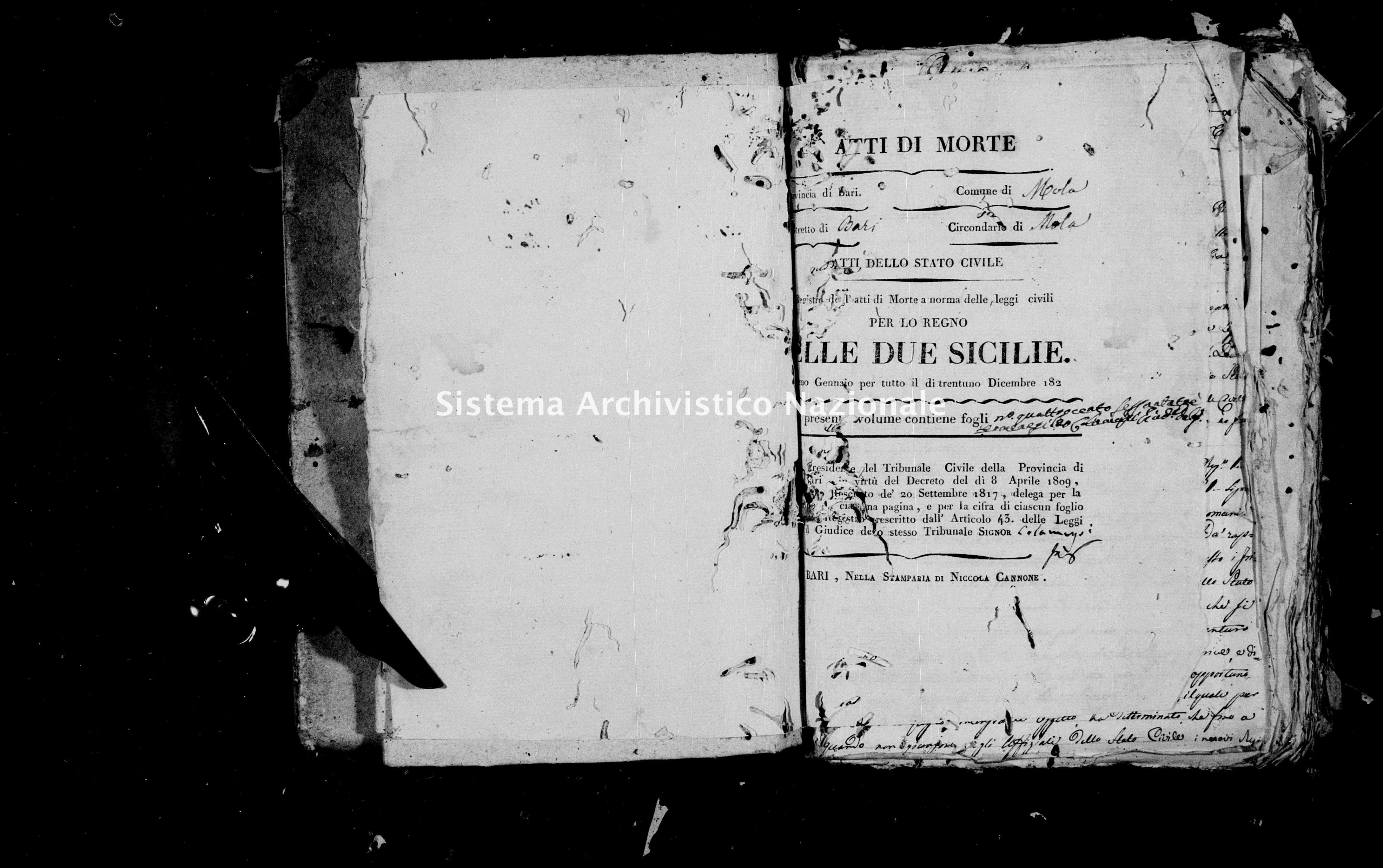 Archivio di stato di Bari - Stato civile della restaurazione - Mola - Morti - 1821 -