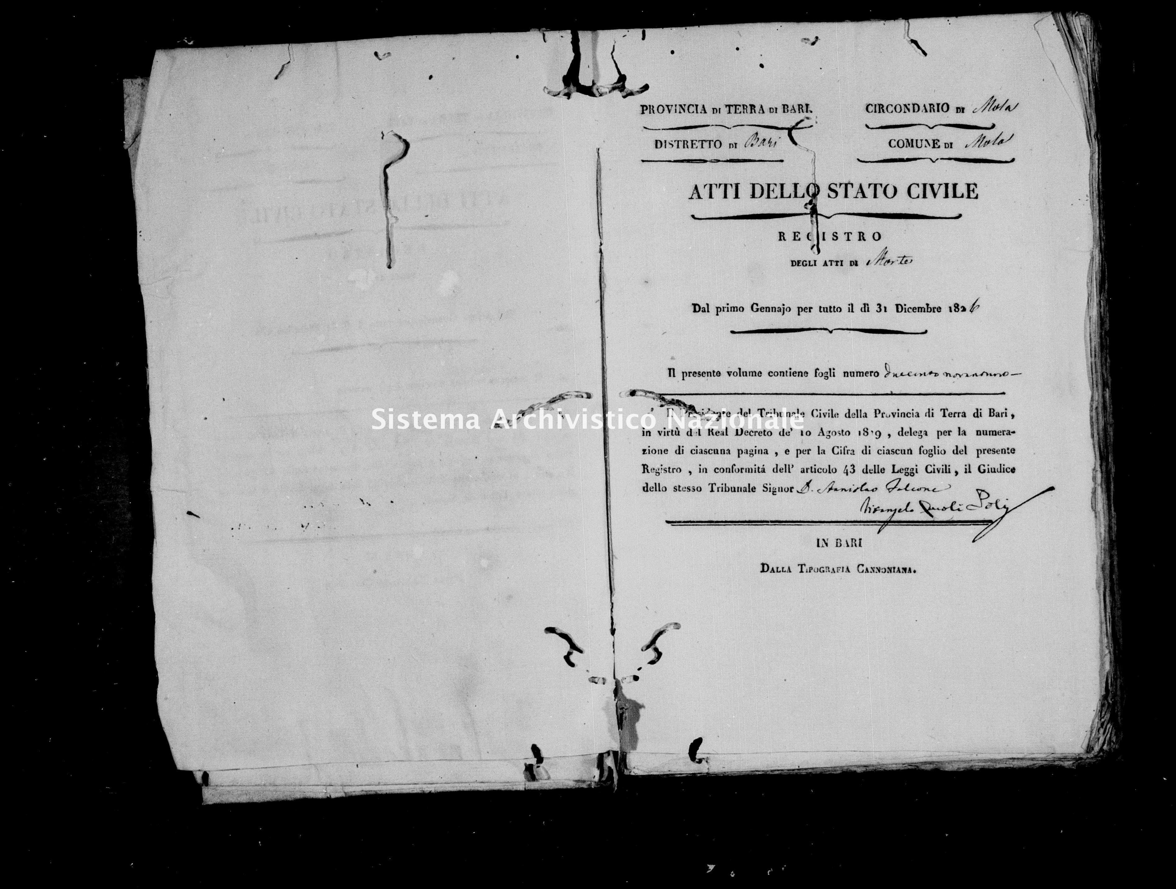 Archivio di stato di Bari - Stato civile della restaurazione - Mola - Morti - 1826 -