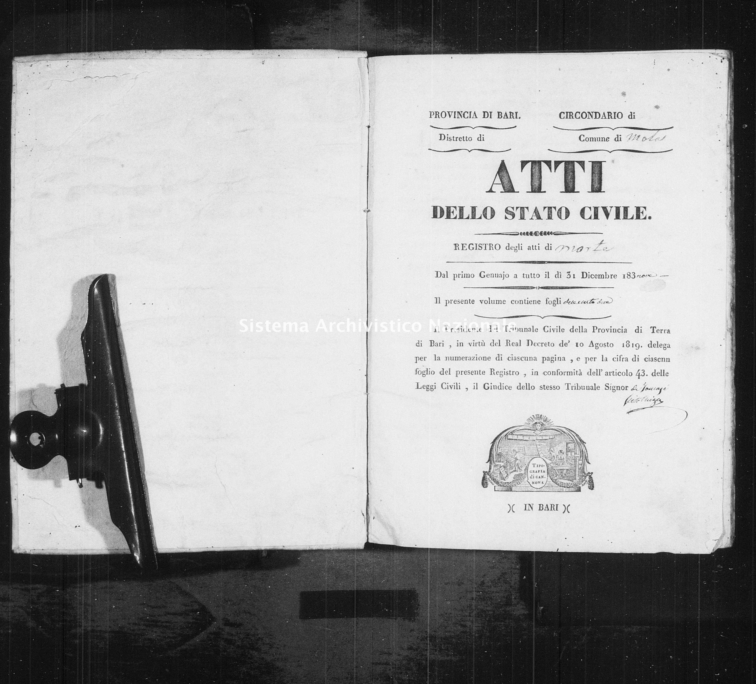 Archivio di stato di Bari - Stato civile della restaurazione - Mola - Morti - 1839 -