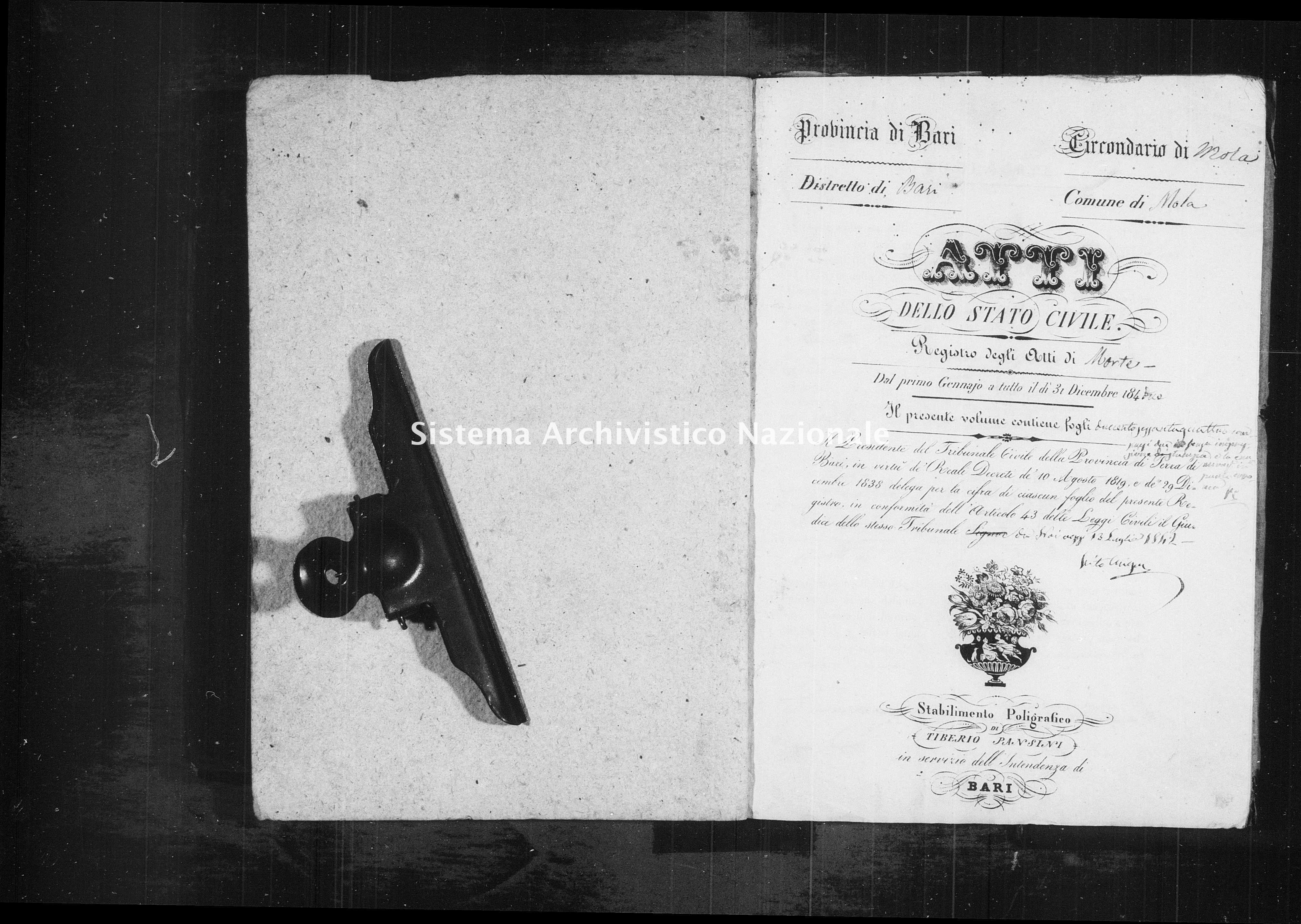 Archivio di stato di Bari - Stato civile della restaurazione - Mola - Morti - 1842 - Parte 2 -
