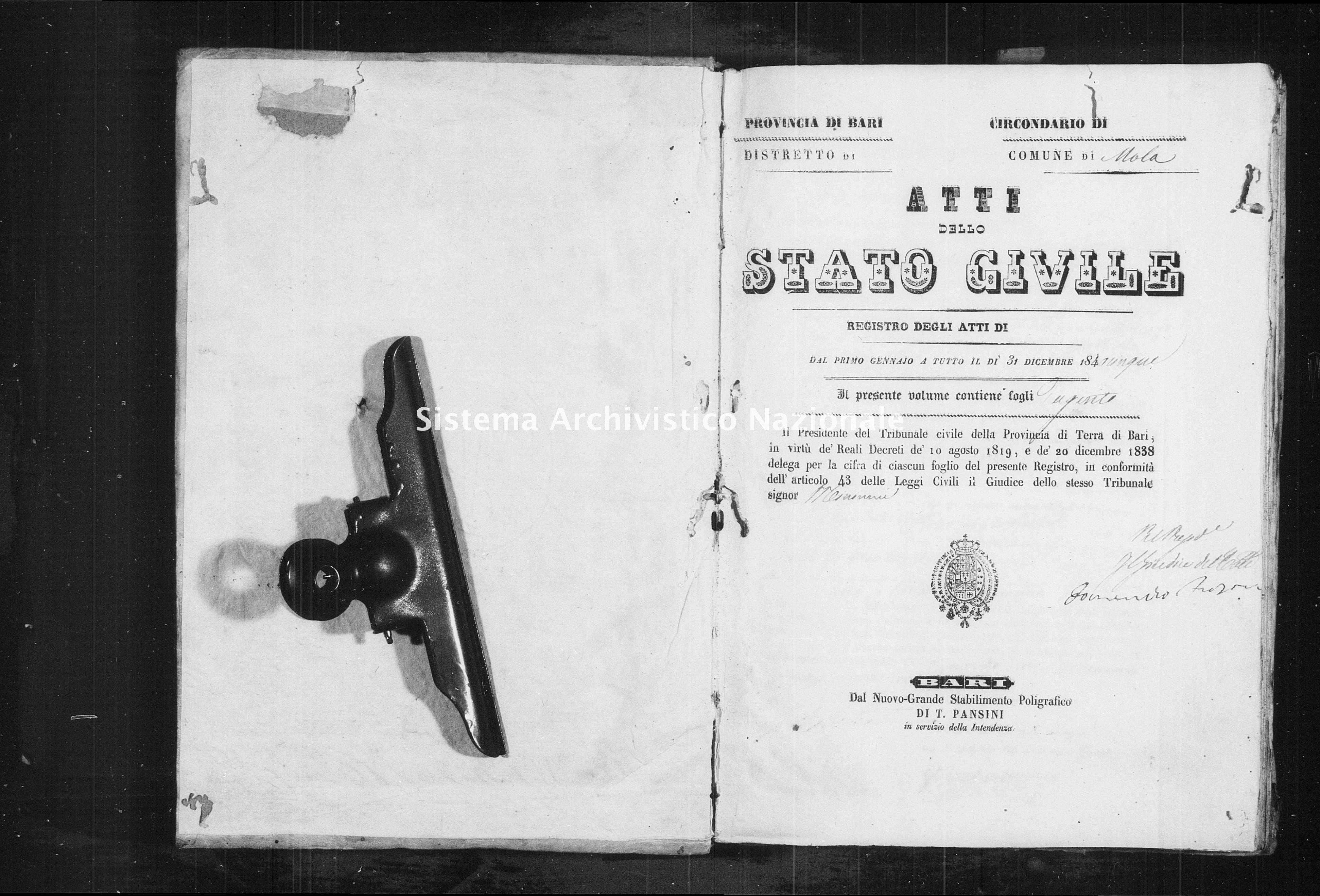 Archivio di stato di Bari - Stato civile della restaurazione - Mola - Morti - 1845 -