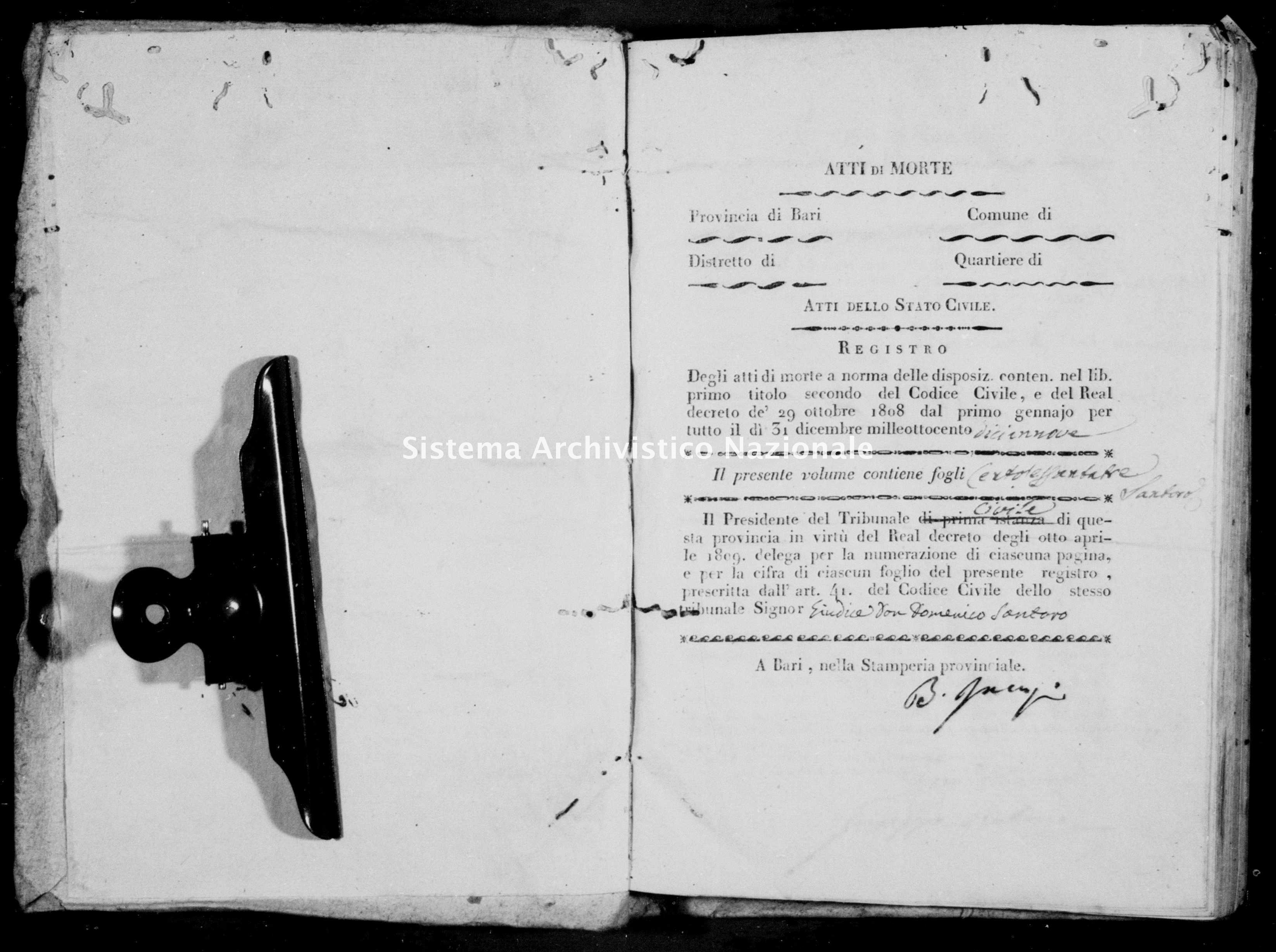 Archivio di stato di Bari - Stato civile della restaurazione - Noja - Morti - 1819 -