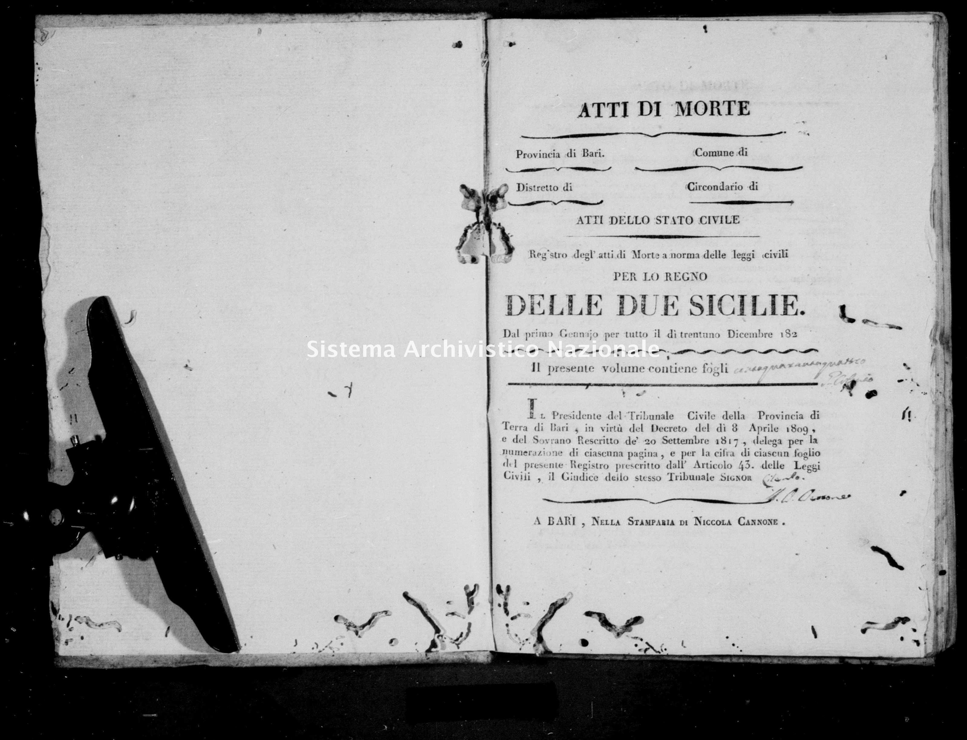 Archivio di stato di Bari - Stato civile della restaurazione - Noja - Morti - 1821 -