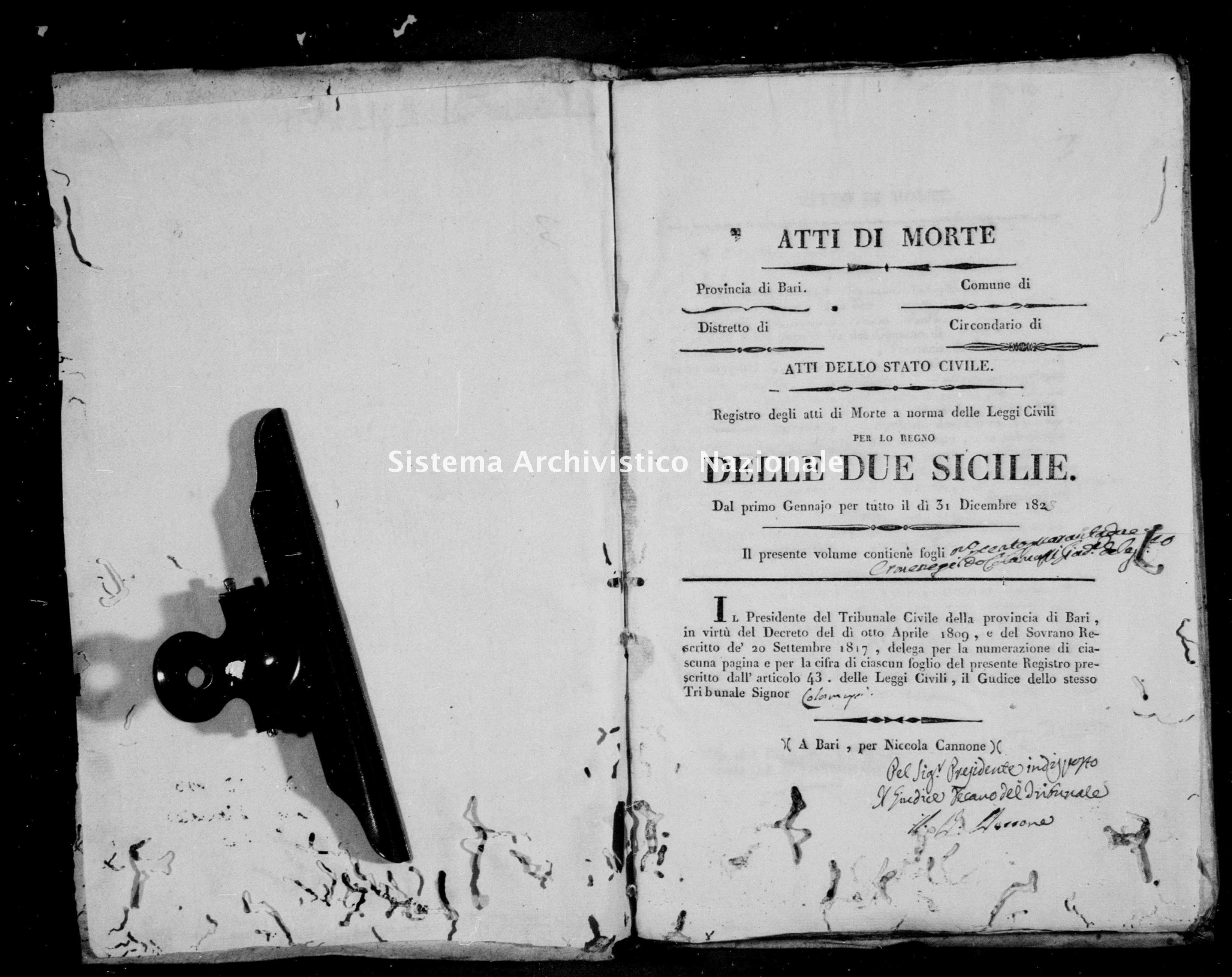 Archivio di stato di Bari - Stato civile della restaurazione - Noja - Morti - 1823 -