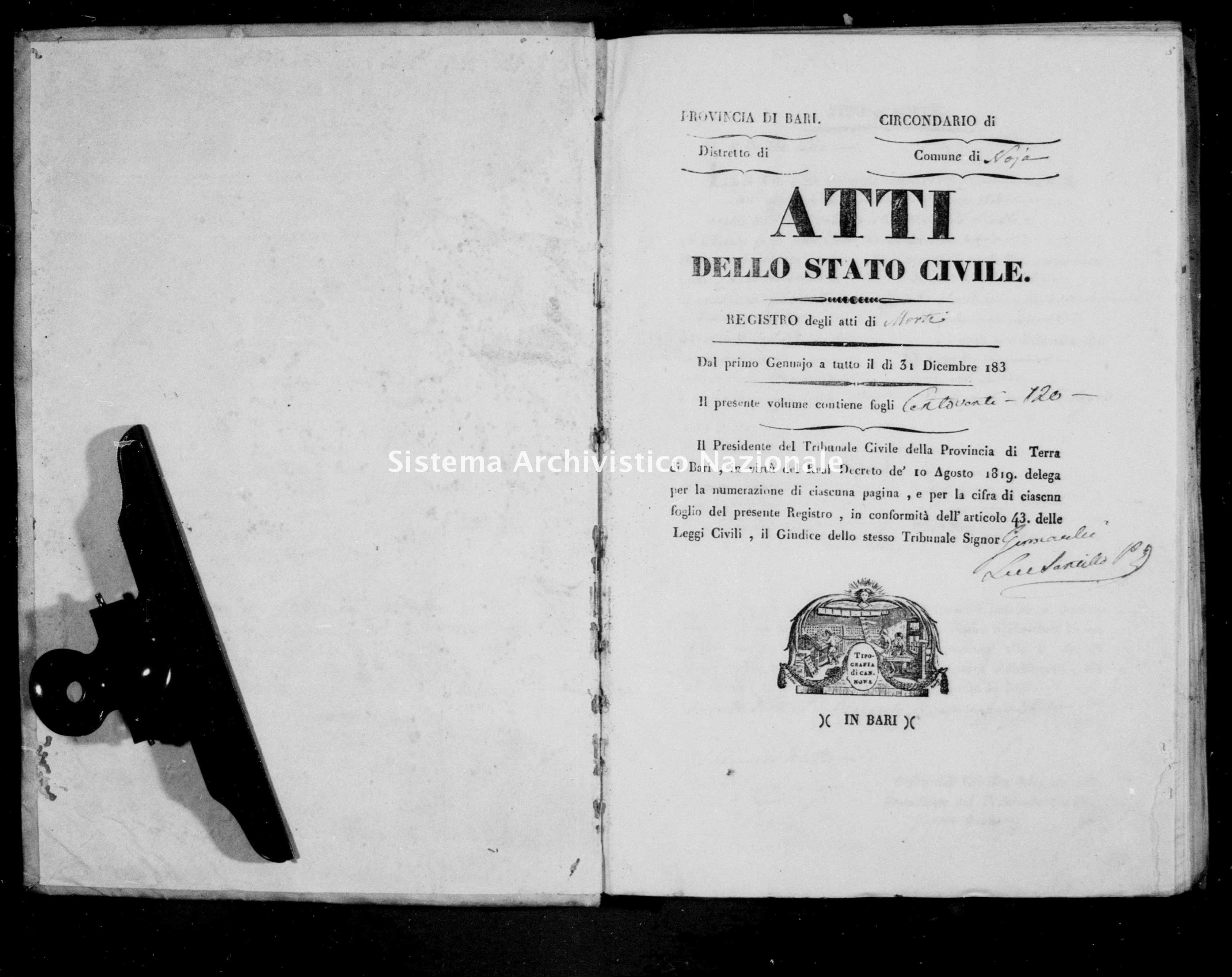 Archivio di stato di Bari - Stato civile della restaurazione - Noja - Morti - 1837 -