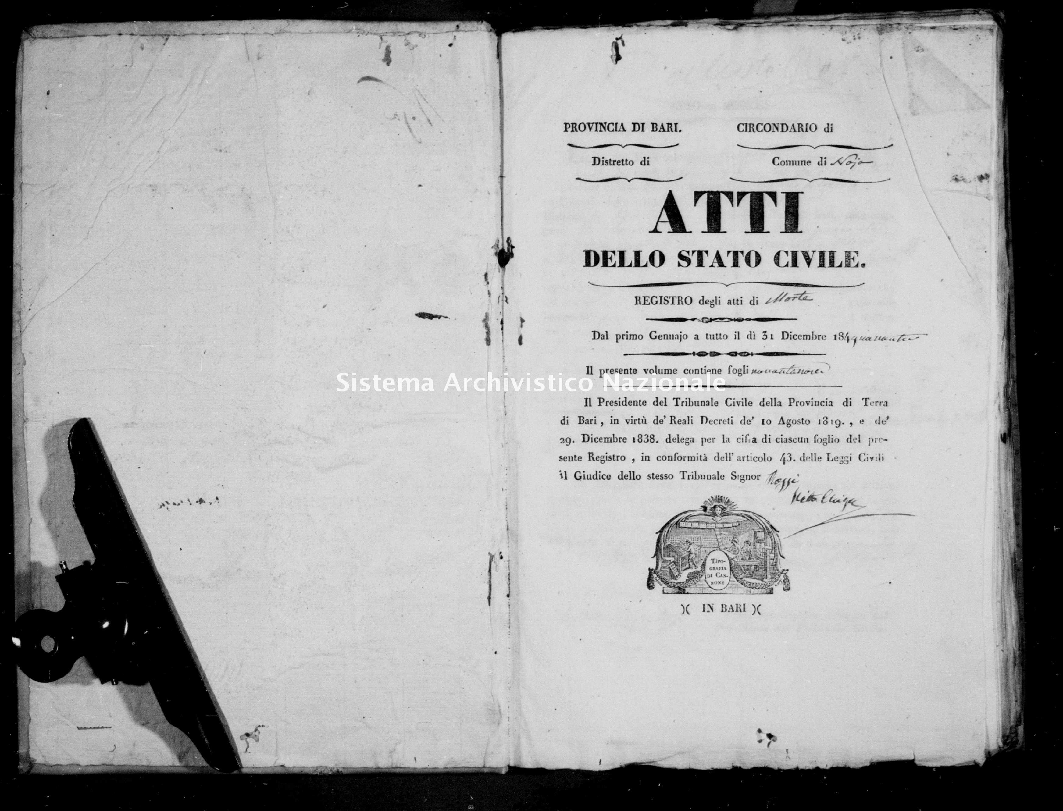 Archivio di stato di Bari - Stato civile della restaurazione - Noja - Morti - 1840 -