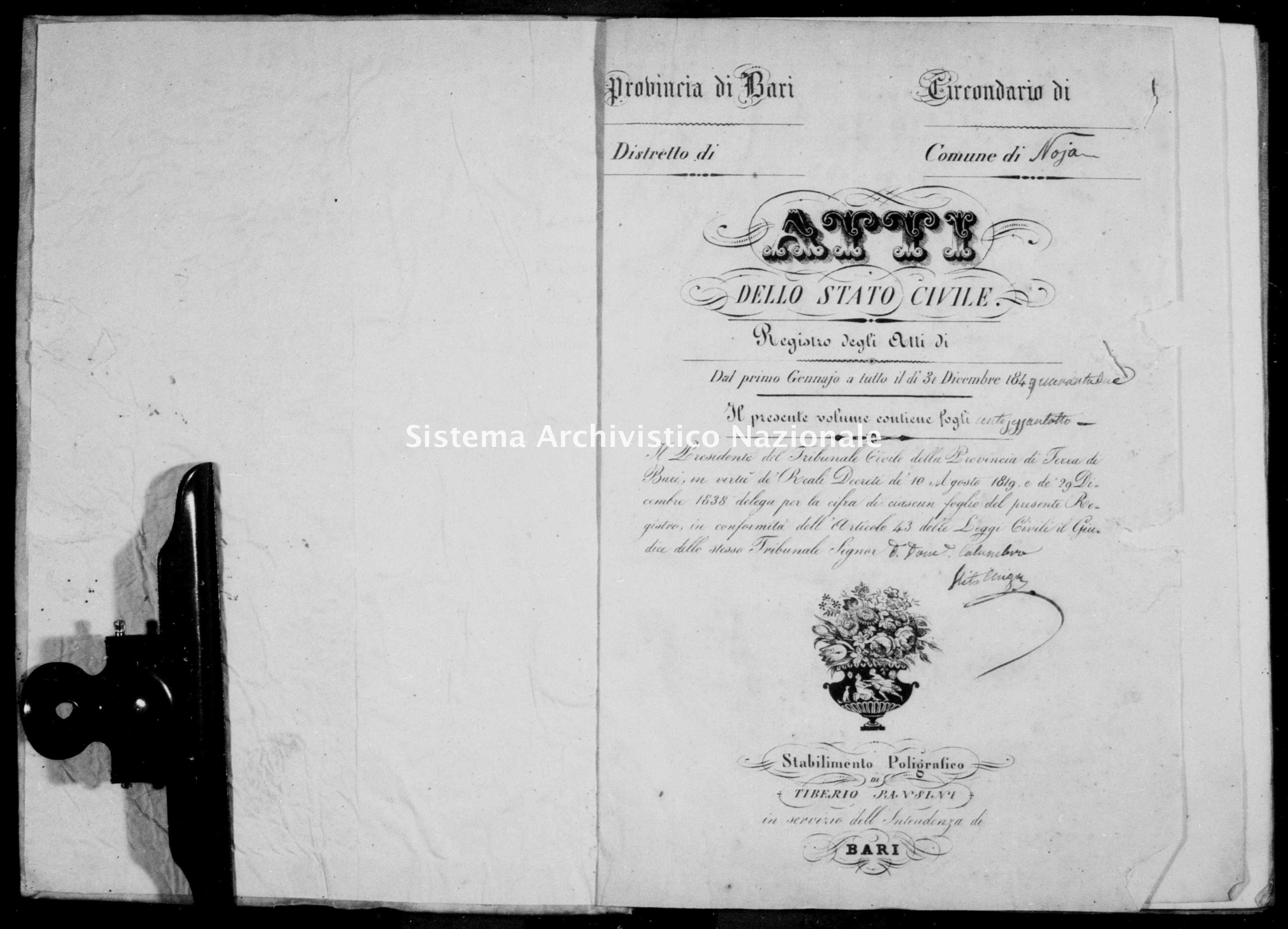 Archivio di stato di Bari - Stato civile della restaurazione - Noja - Morti - 1842 - Parte 1 -