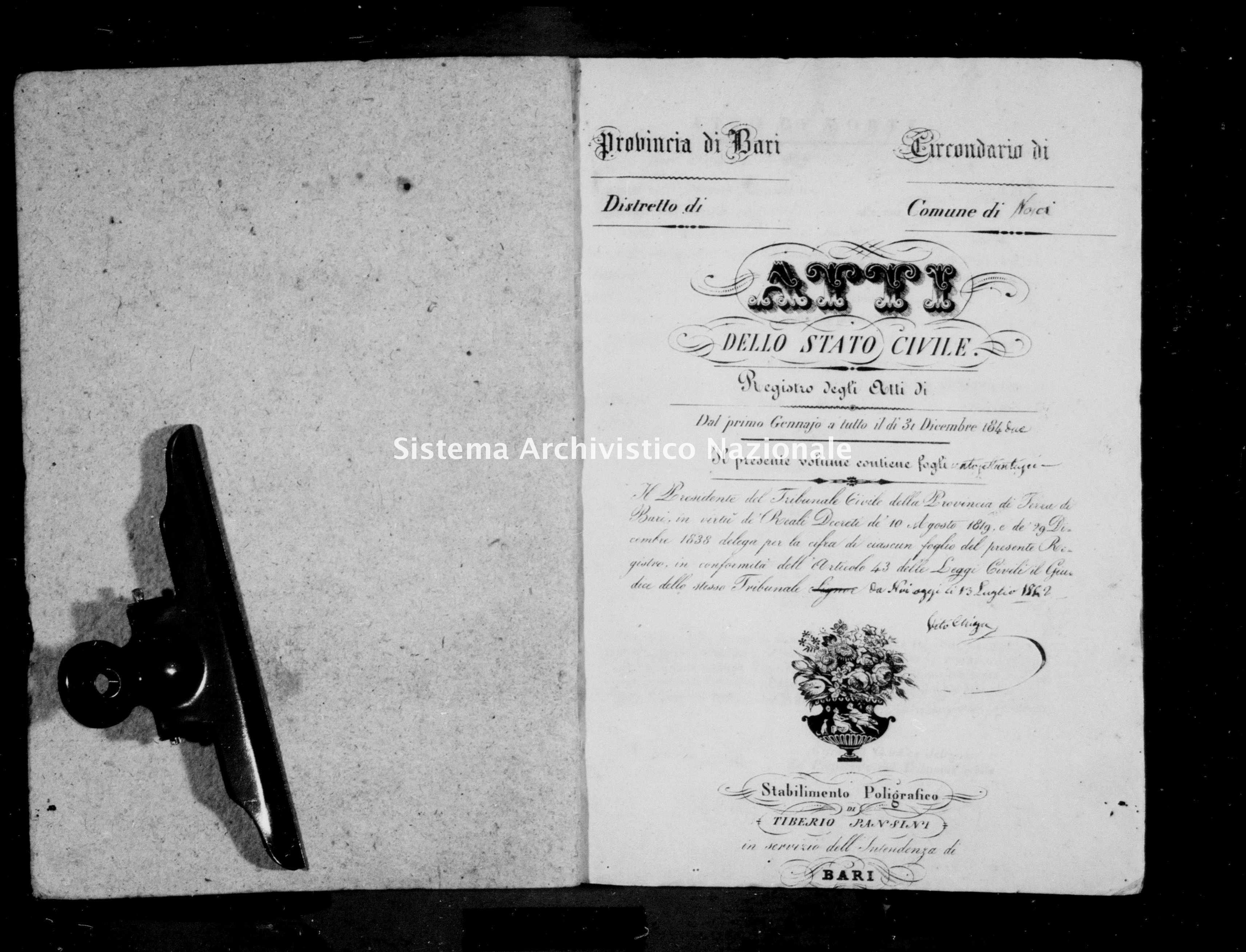 Archivio di stato di Bari - Stato civile della restaurazione - Noja - Morti - 1842 - Parte 2 -