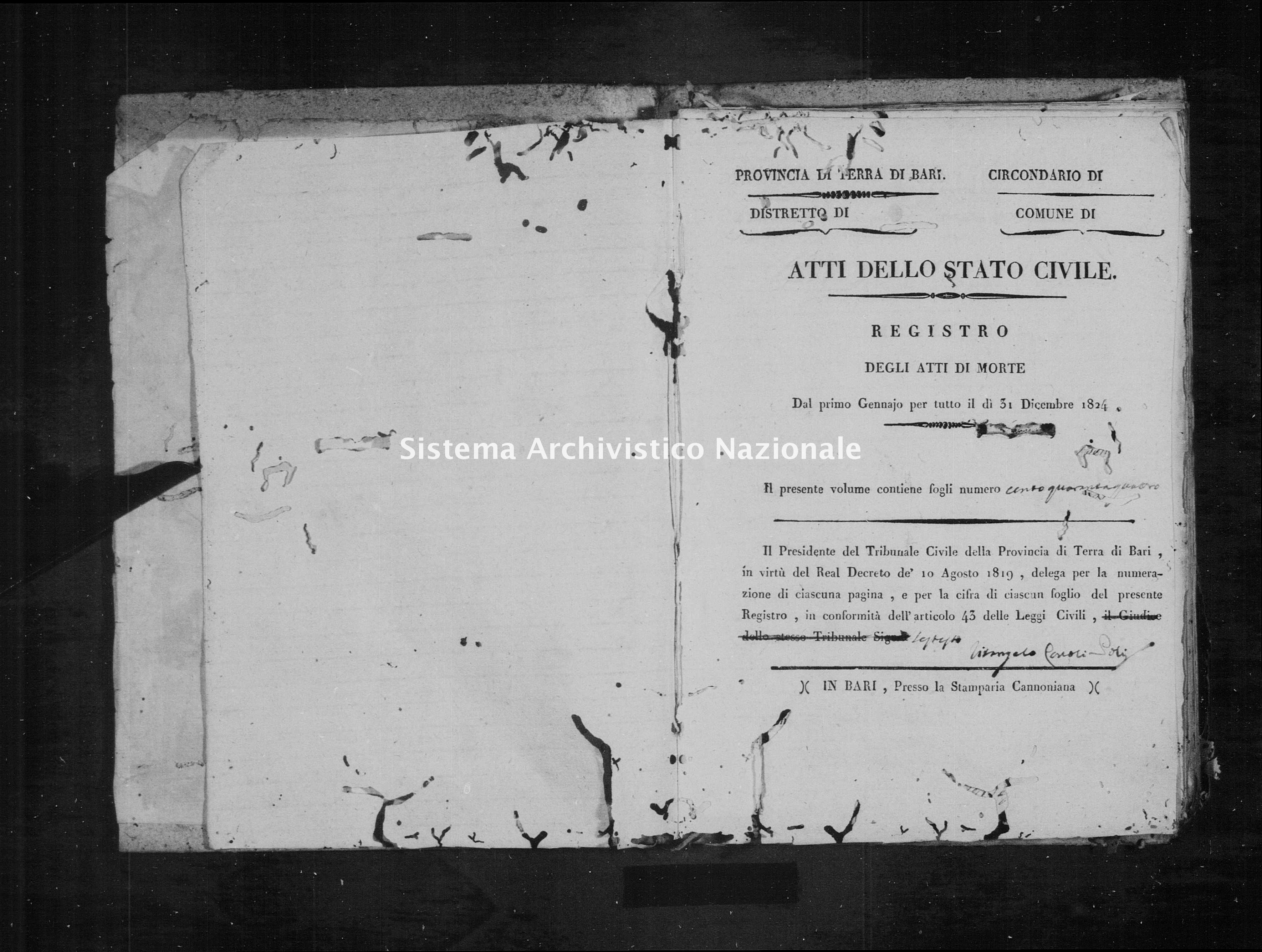 Archivio di stato di Bari - Stato civile della restaurazione - Rutigliano - Morti - 1824 -
