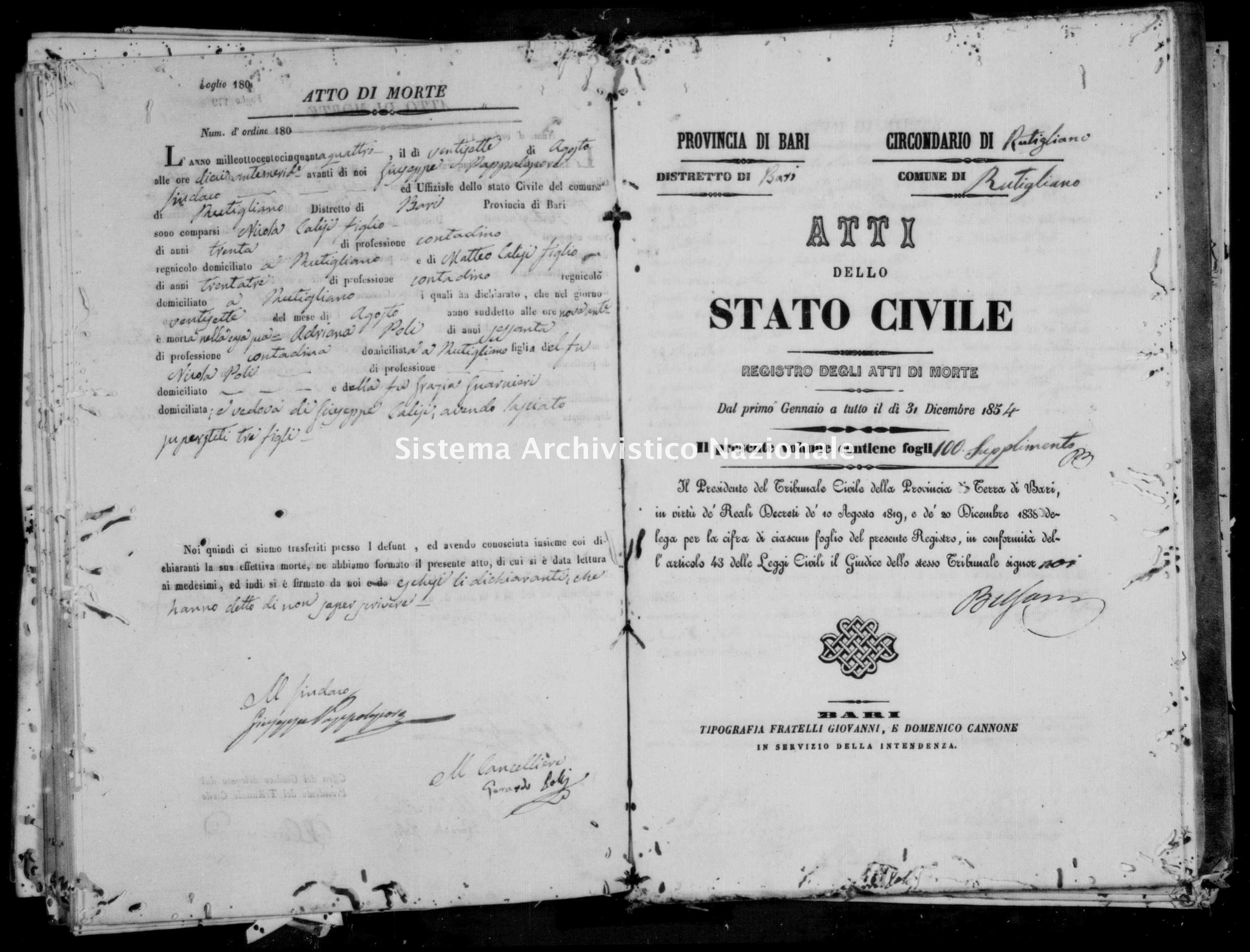 Archivio di stato di Bari - Stato civile della restaurazione - Rutigliano - Morti - 1854 - Parte 2 -