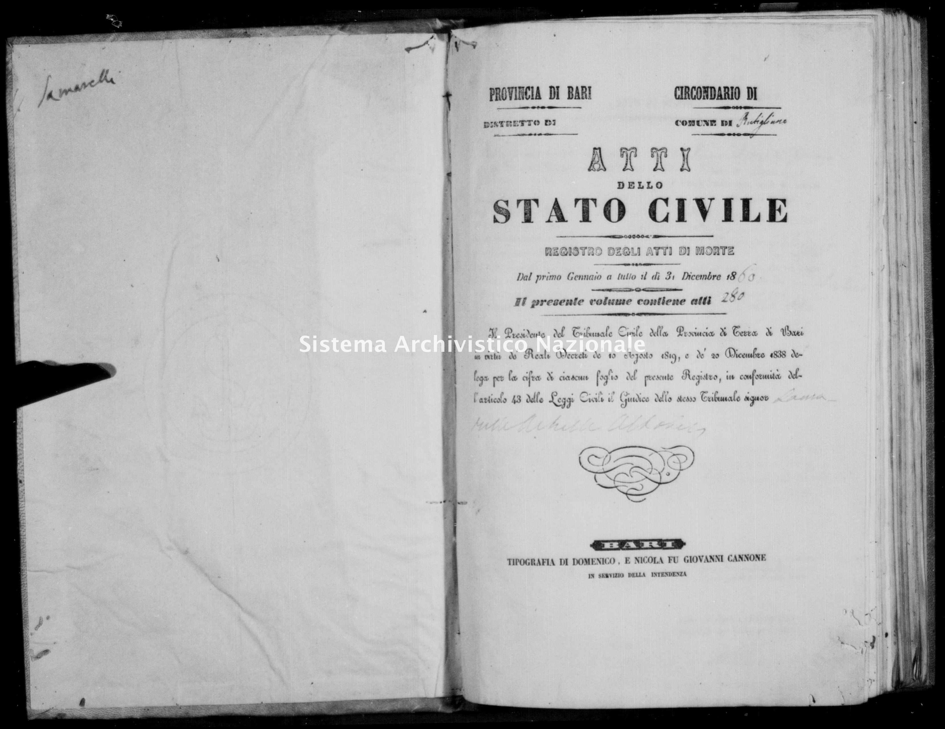 Archivio di stato di Bari - Stato civile della restaurazione - Rutigliano - Morti - 1860 -