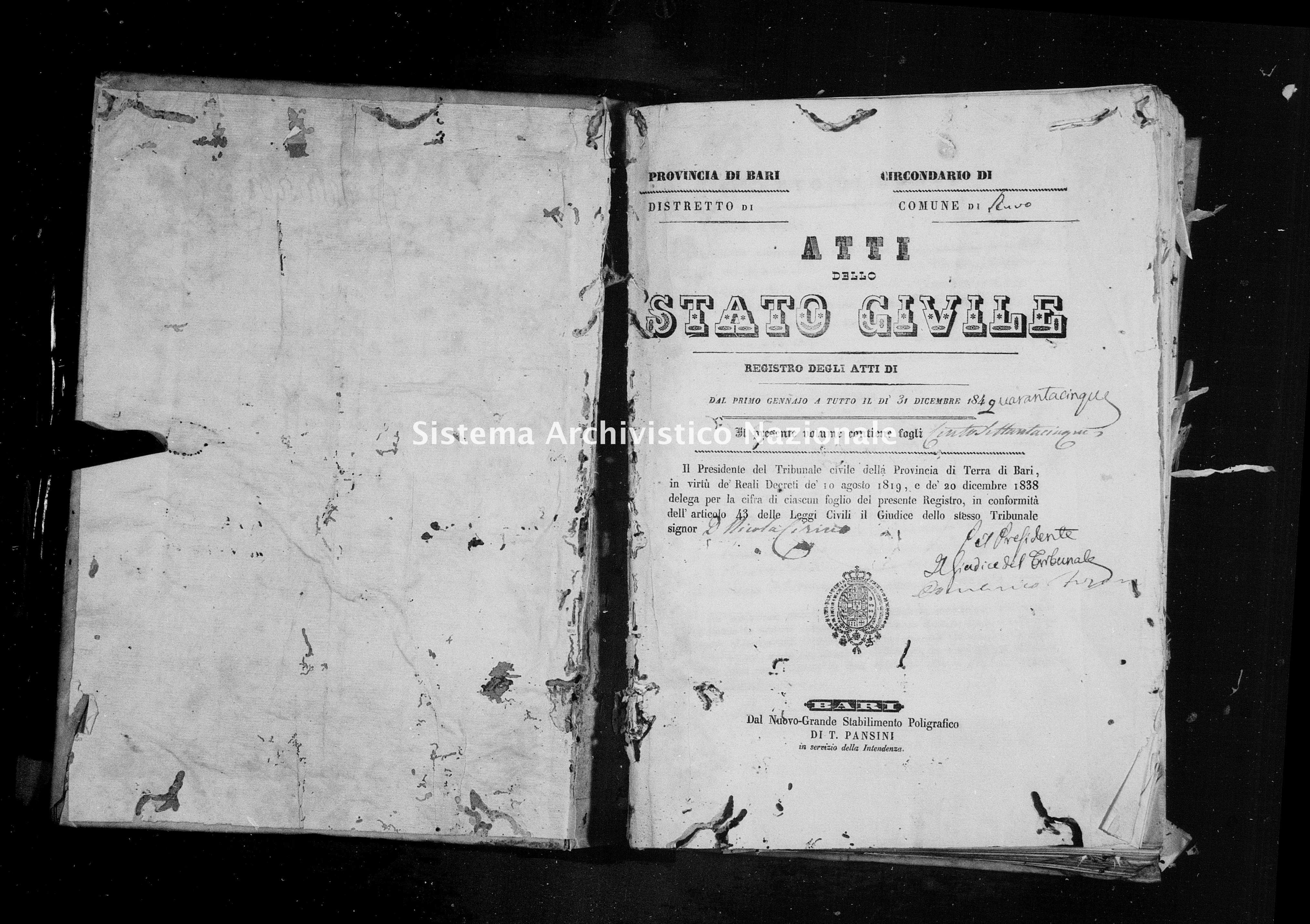 Archivio di stato di Bari - Stato civile della restaurazione - Ruvo - Morti - 1845 -