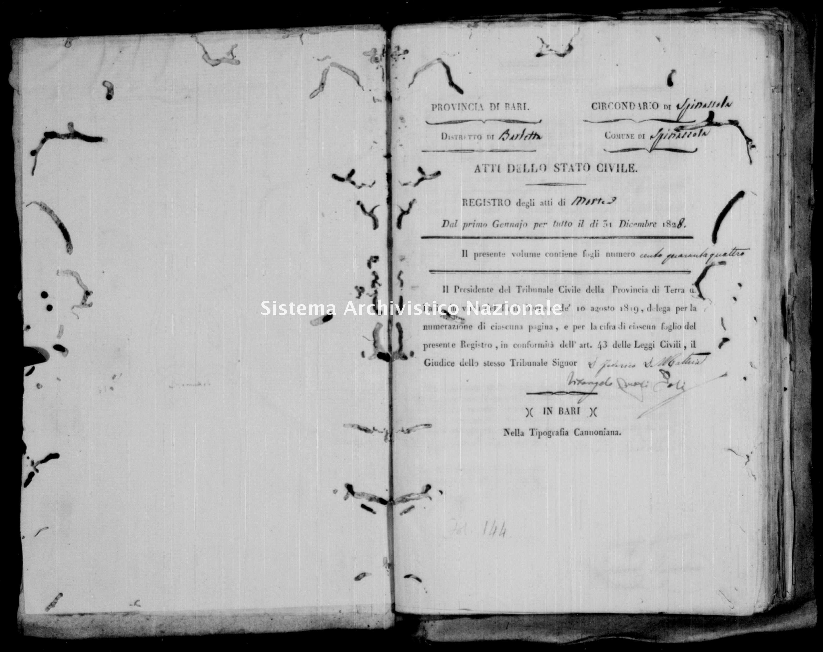 Archivio di stato di Bari - Stato civile della restaurazione - Spinazzola - Morti - 1828 -