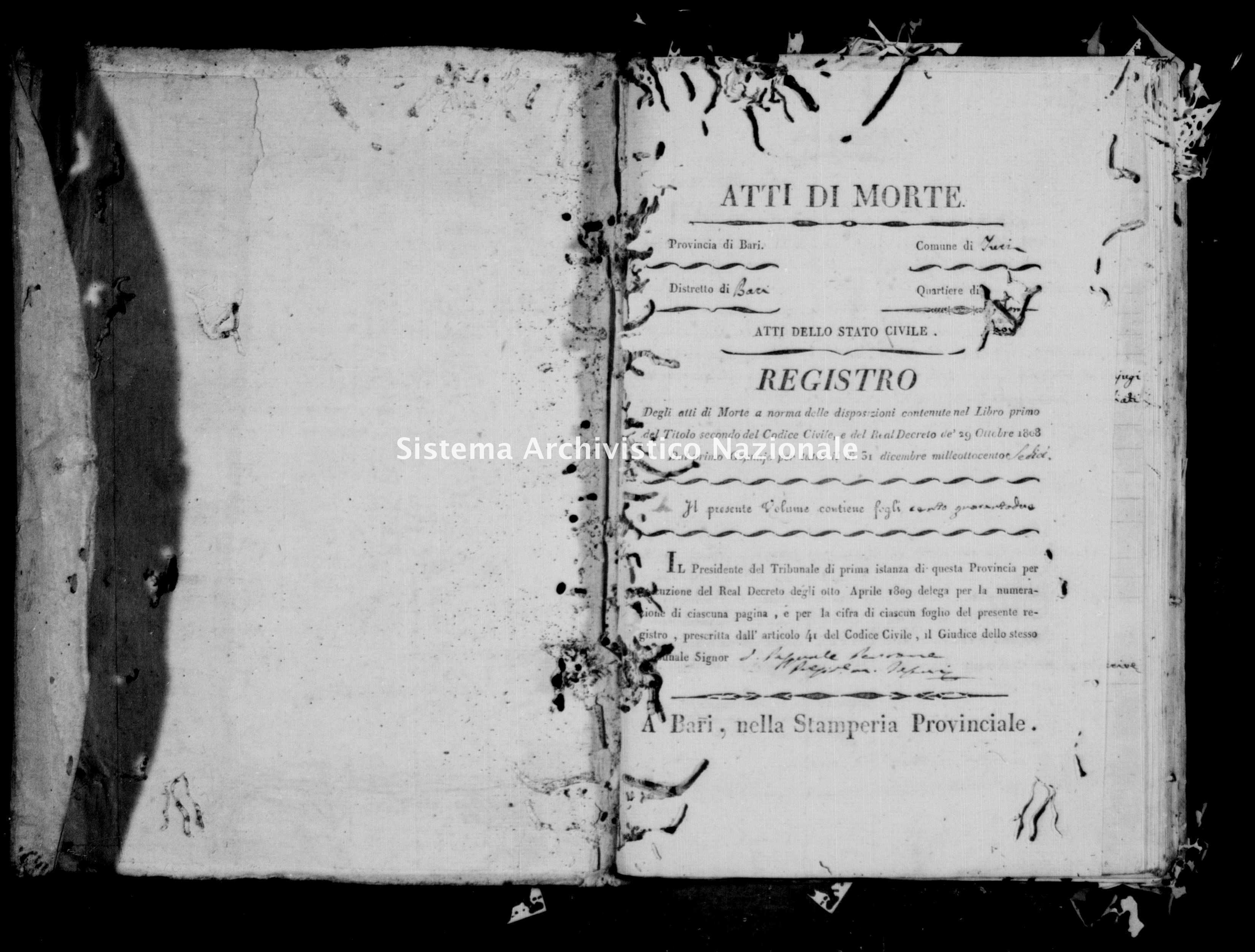 Archivio di stato di Bari - Stato civile della restaurazione - Turi - Morti - 1816 -