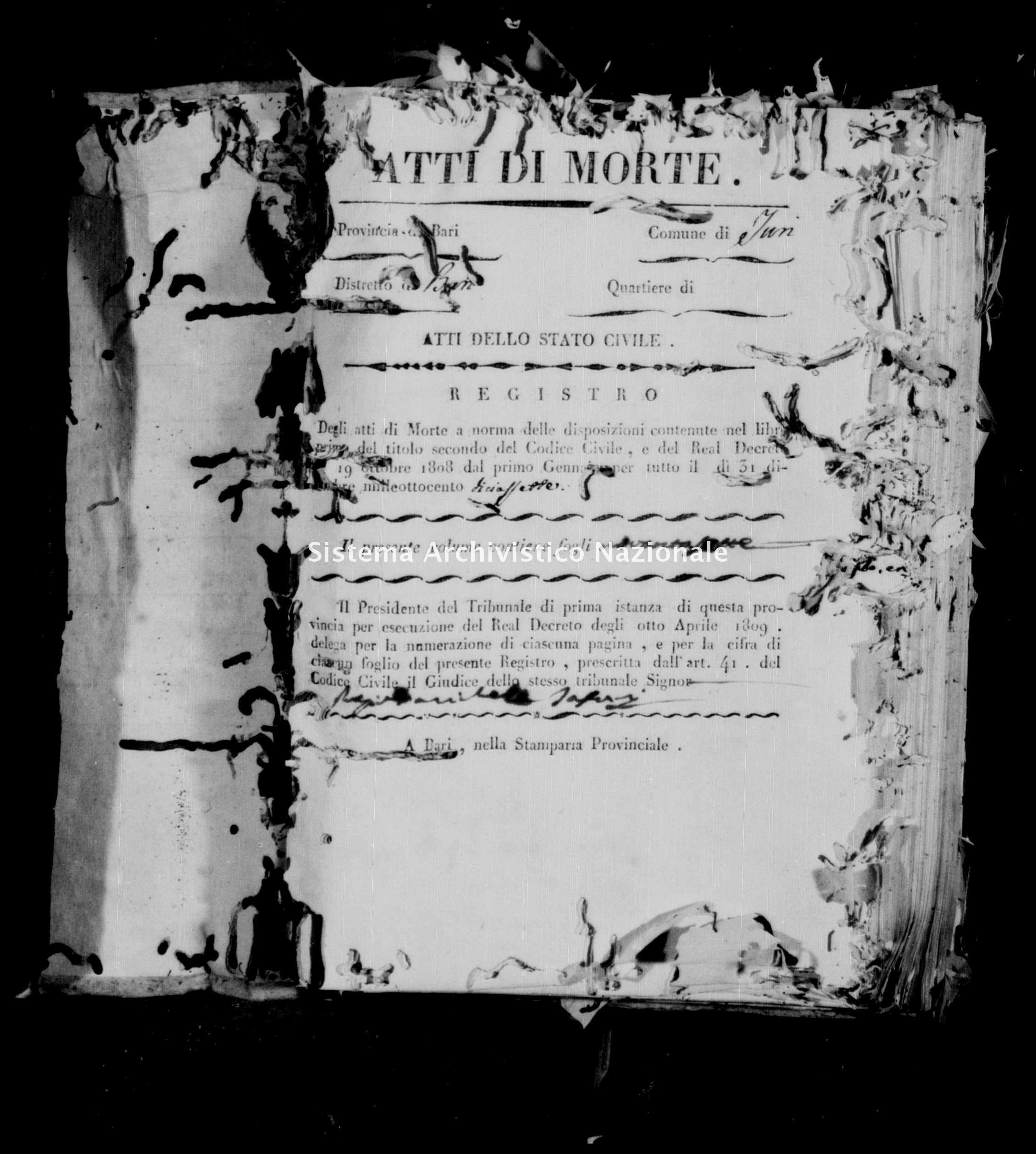 Archivio di stato di Bari - Stato civile della restaurazione - Turi - Morti - 1817 - Parte 1 -