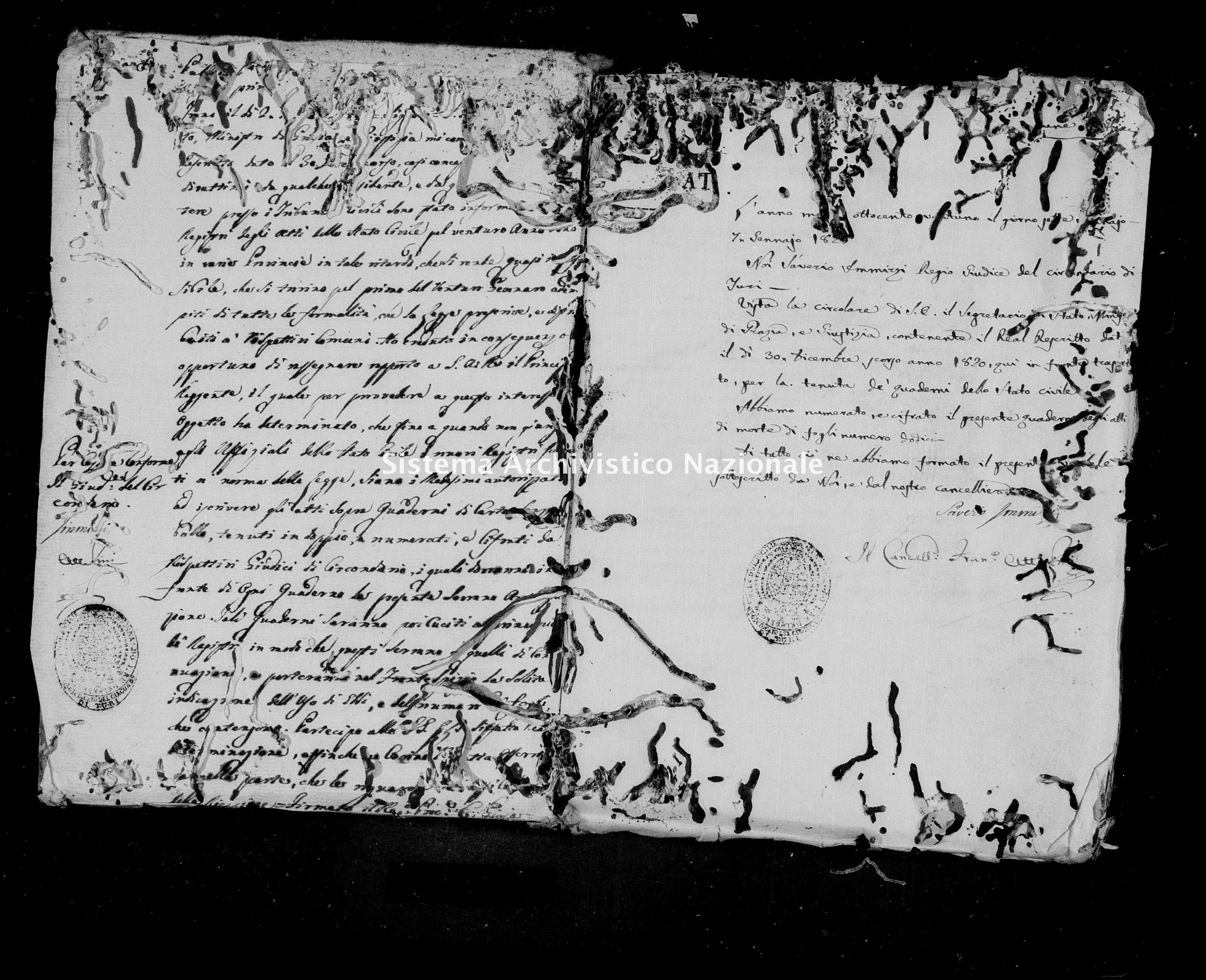 Archivio di stato di Bari - Stato civile della restaurazione - Turi - Morti - 1821 -