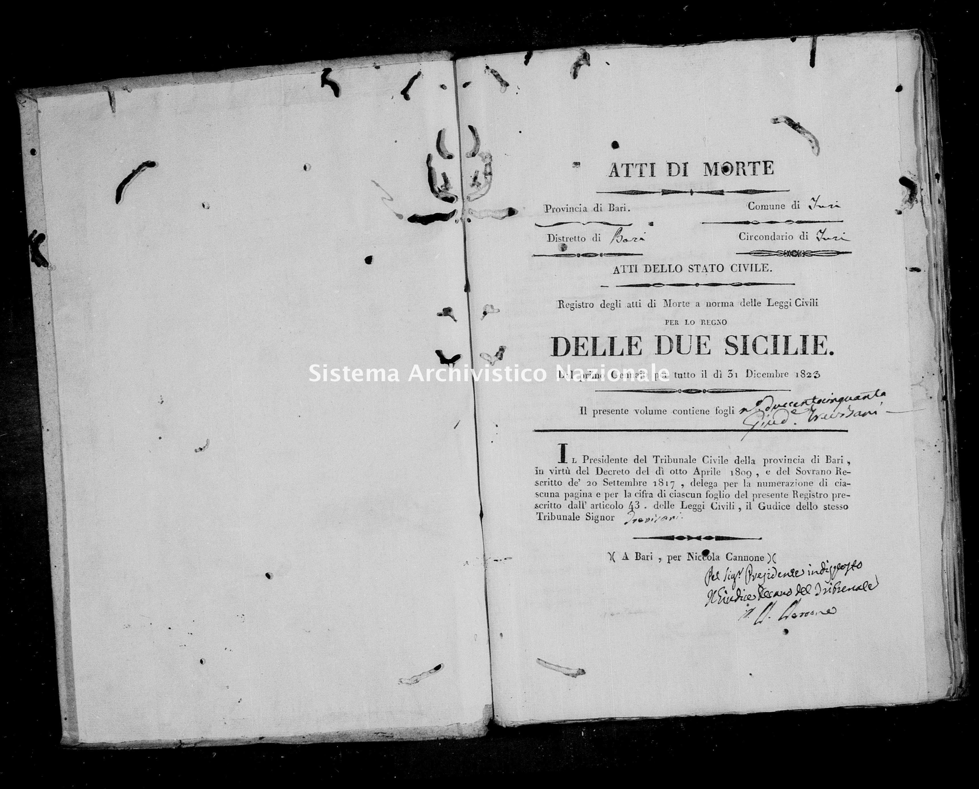 Archivio di stato di Bari - Stato civile della restaurazione - Turi - Morti - 1823 -