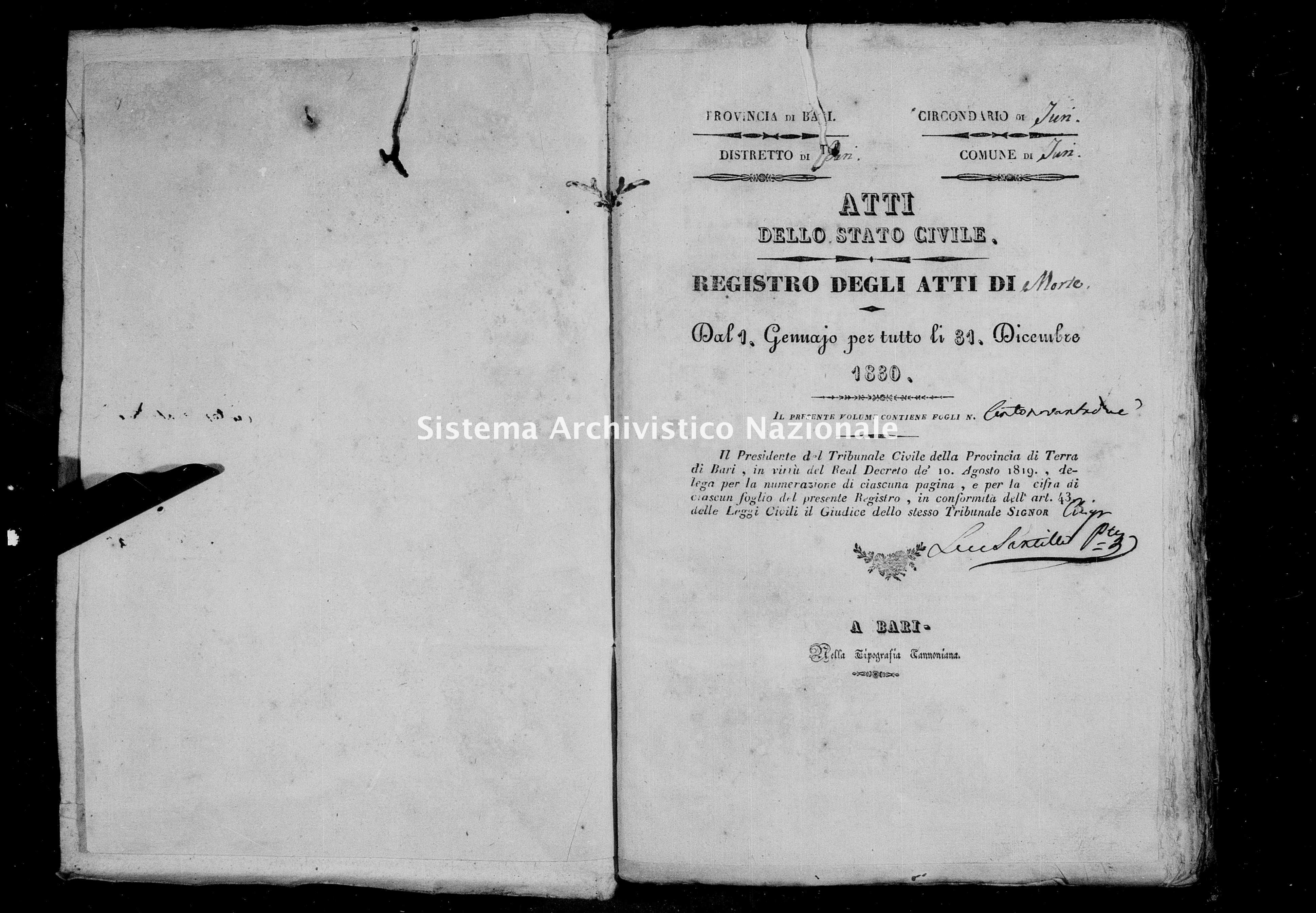 Archivio di stato di Bari - Stato civile della restaurazione - Turi - Morti - 1830 -