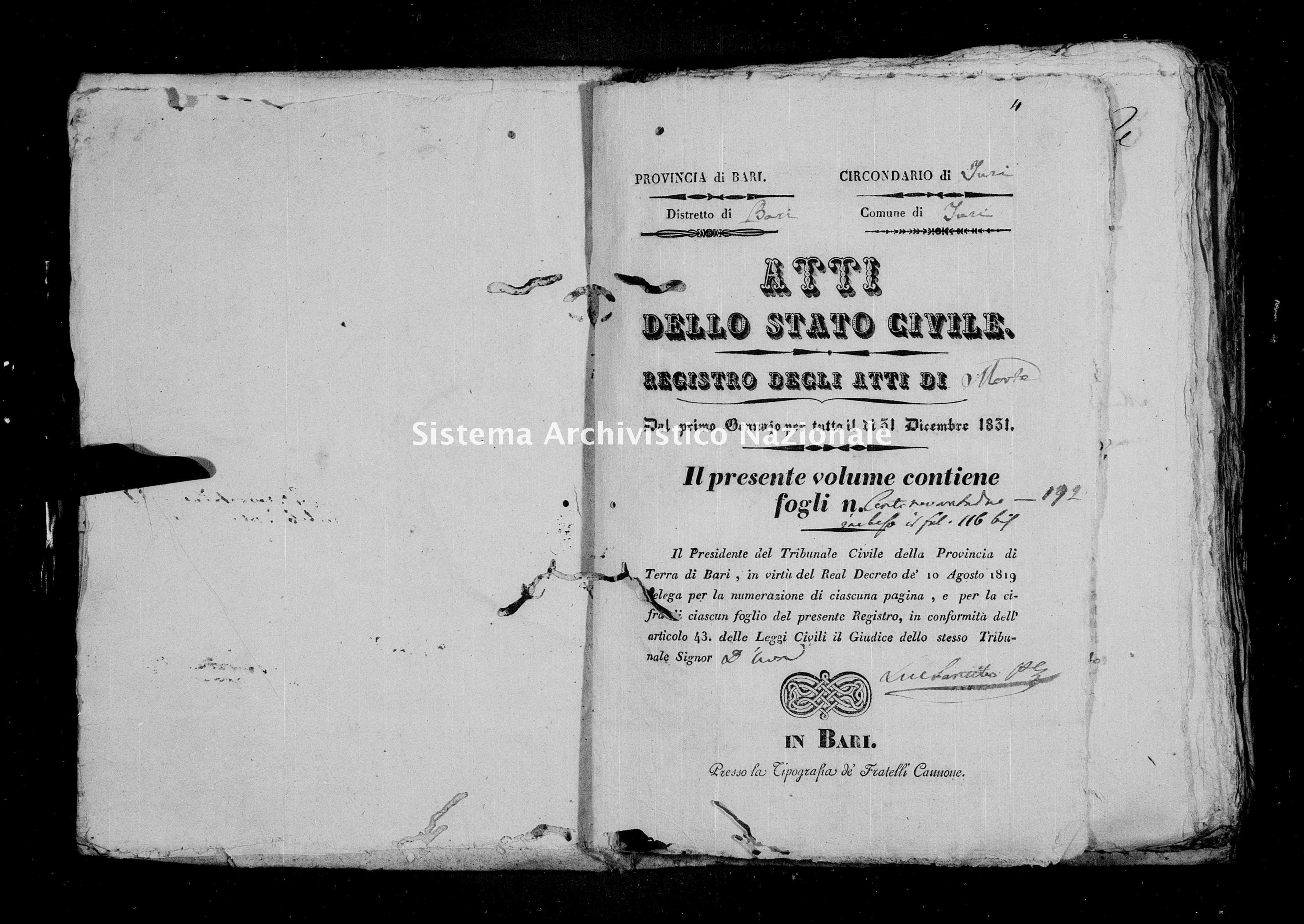 Archivio di stato di Bari - Stato civile della restaurazione - Turi - Morti - 1831 -