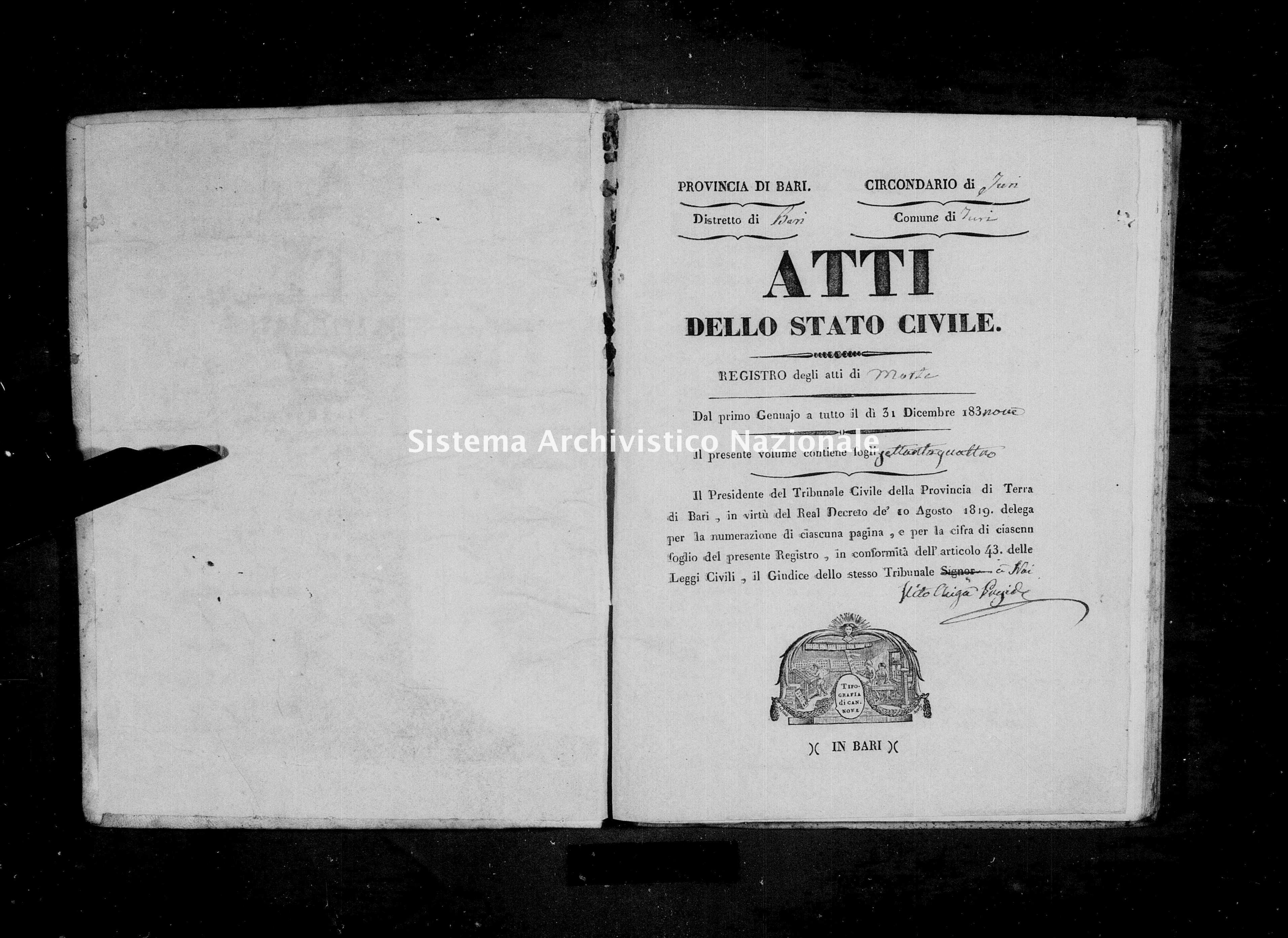 Archivio di stato di Bari - Stato civile della restaurazione - Turi - Morti - 1839 -