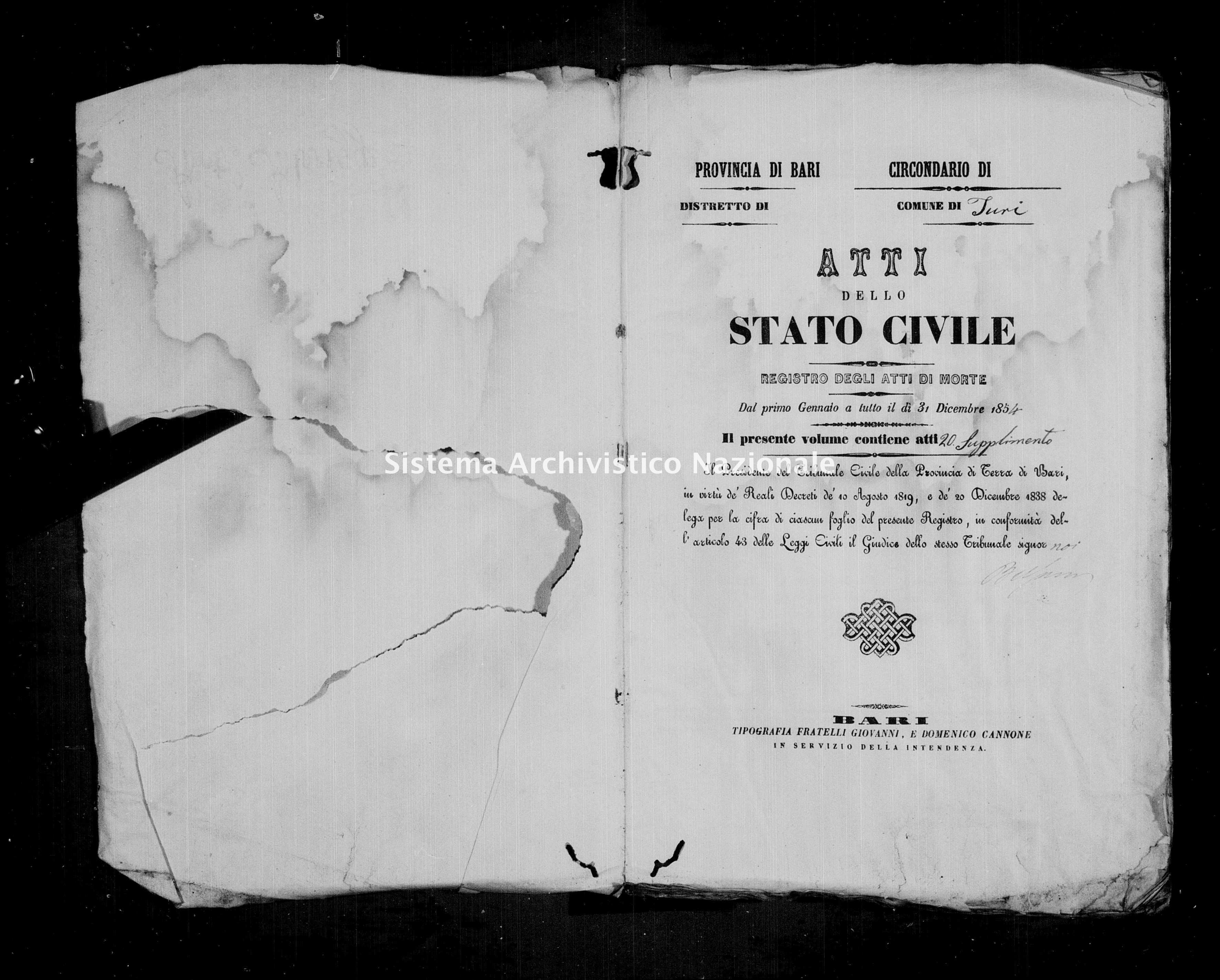 Archivio di stato di Bari - Stato civile della restaurazione - Turi - Morti - 1854 - Parte 2 -