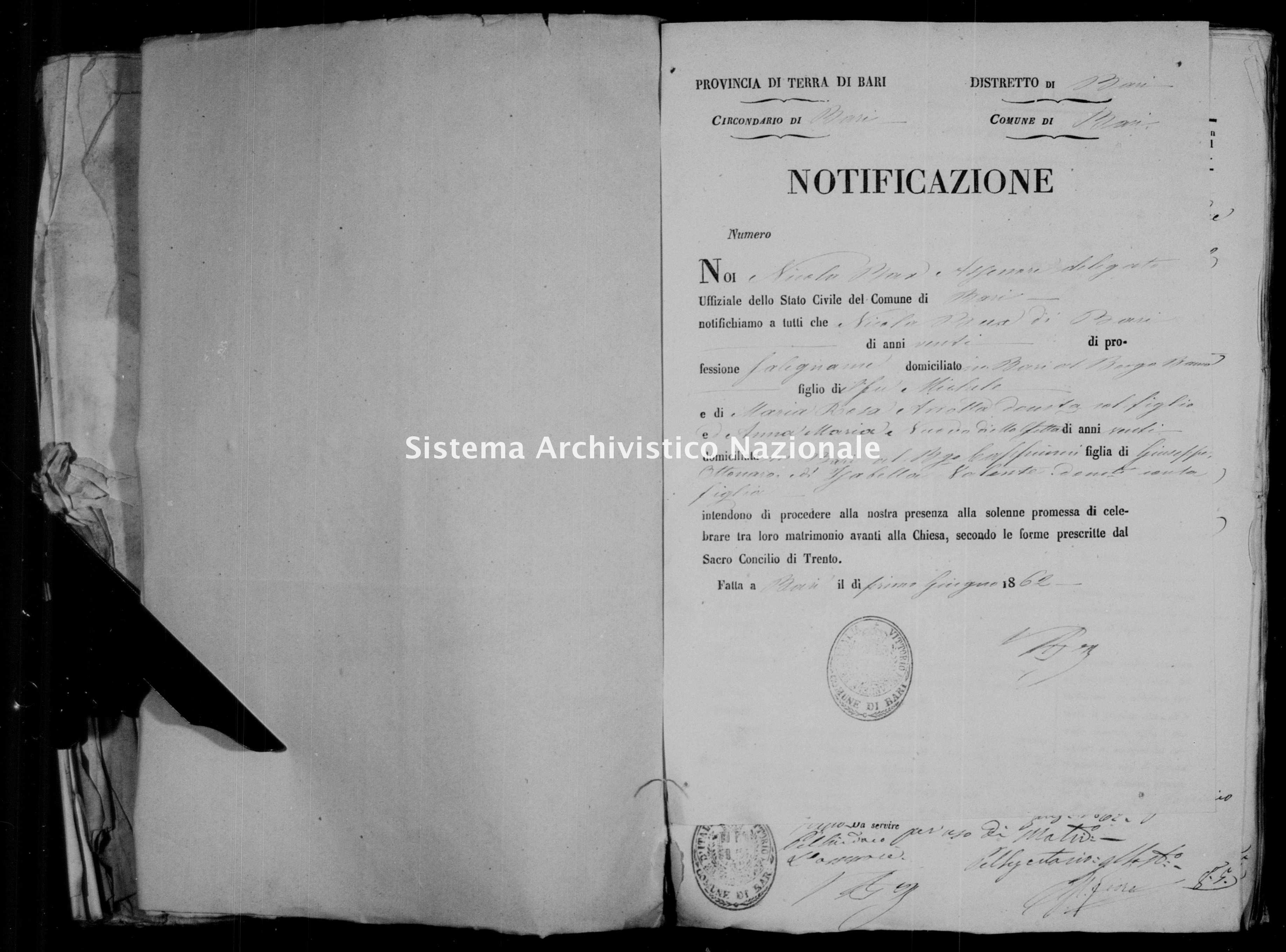 Archivio di stato di Bari - Stato civile italiano - Bari - Matrimoni, allegati - 1862 - Parte 3 -