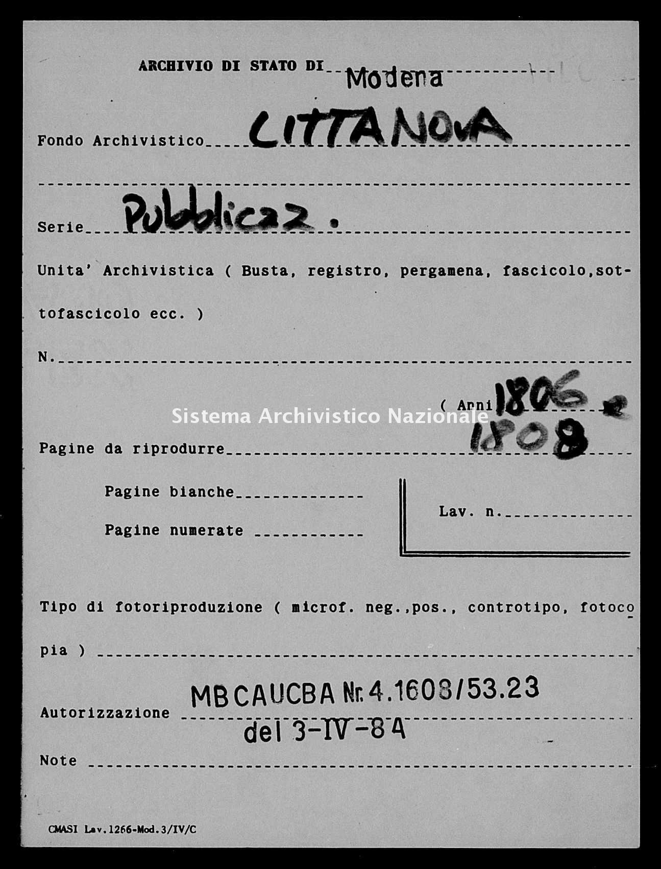 Archivio di stato di Modena - Stato civile napoleonico - Cittanova - Matrimoni, pubblicazioni ed opposizioni - 1806 -
