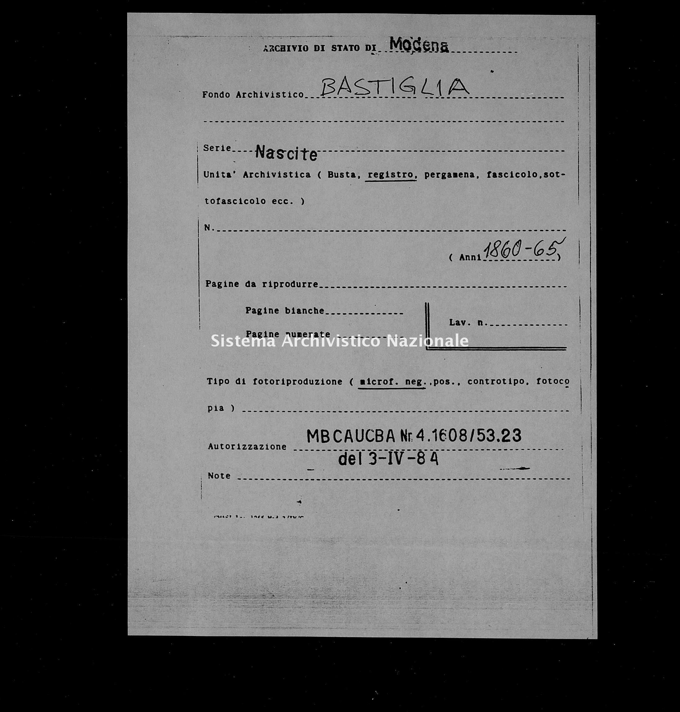 Archivio di stato di Modena - Stato civile italiano - Bastiglia - Nati, indici decennali - 1860-1865 -