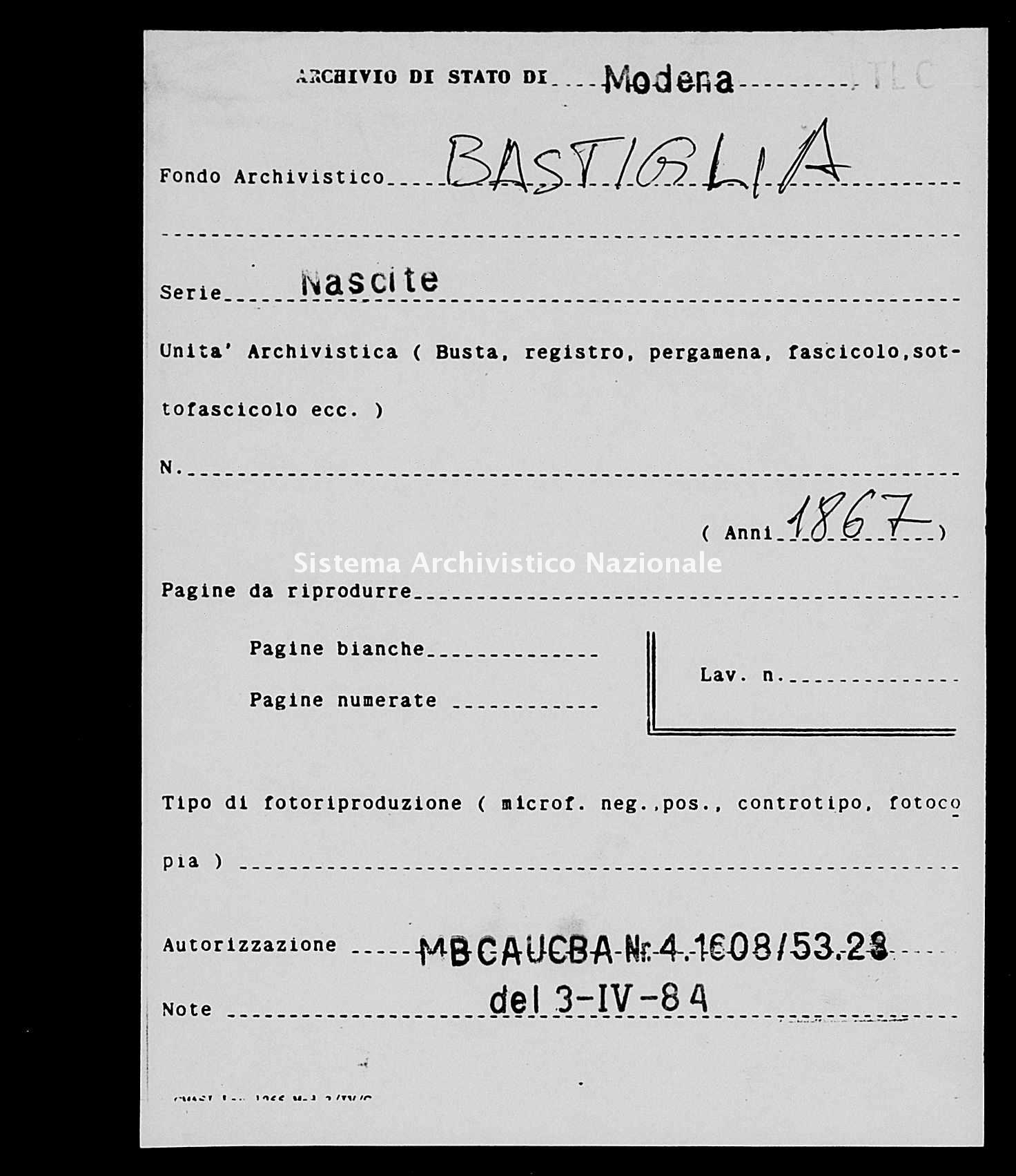 Archivio di stato di Modena - Stato civile italiano - Bastiglia - Nati - 1867 -