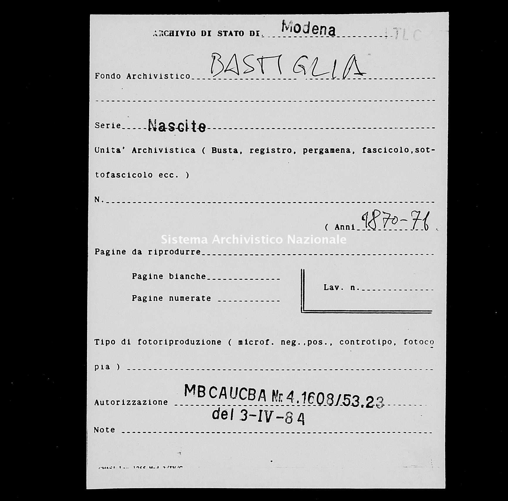 Archivio di stato di Modena - Stato civile italiano - Bastiglia - Nati - 1870 -