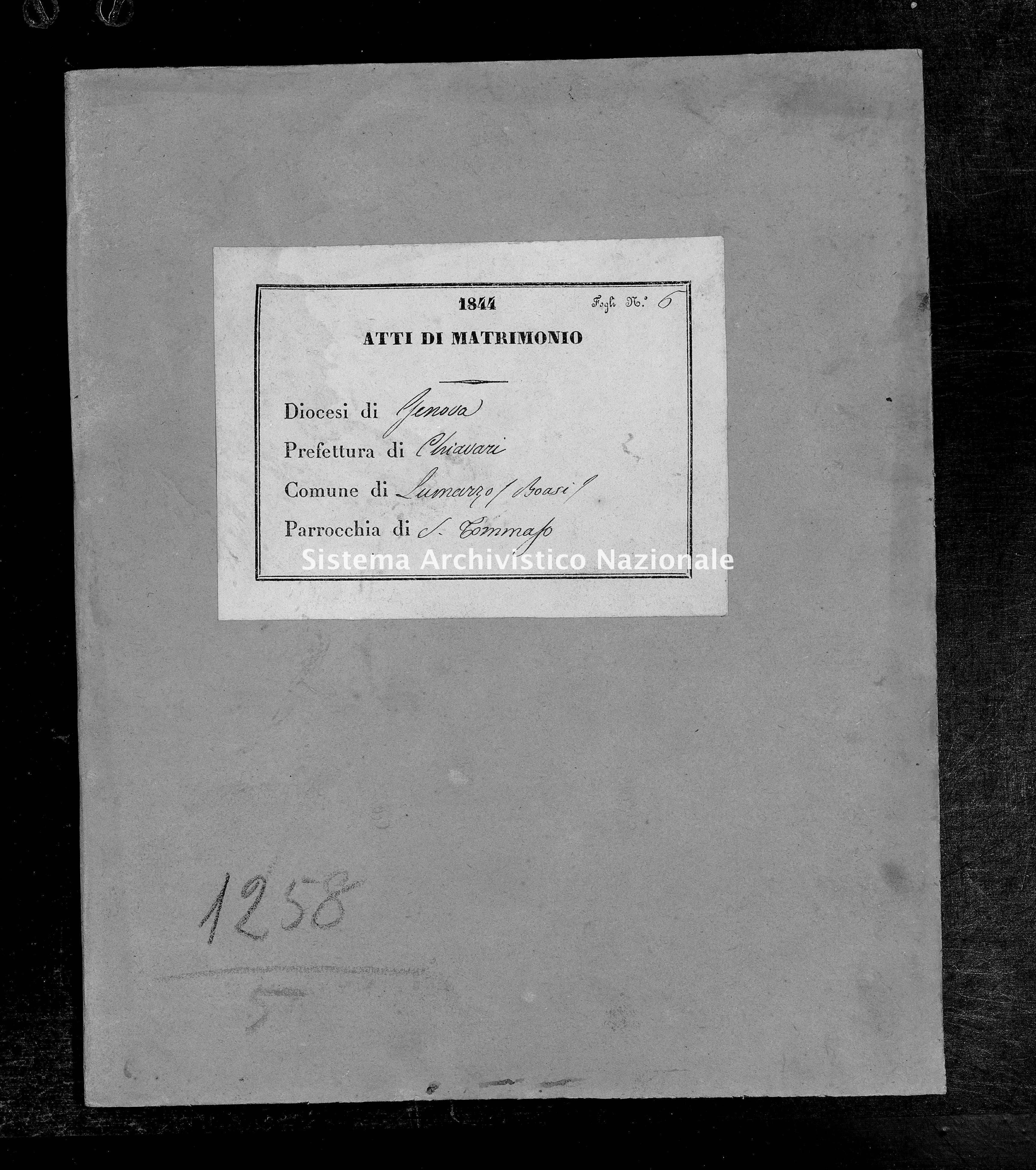 Archivio di stato di Genova - Stato civile della restaurazione - Boasi - Matrimoni - 1844 - 77-78 -