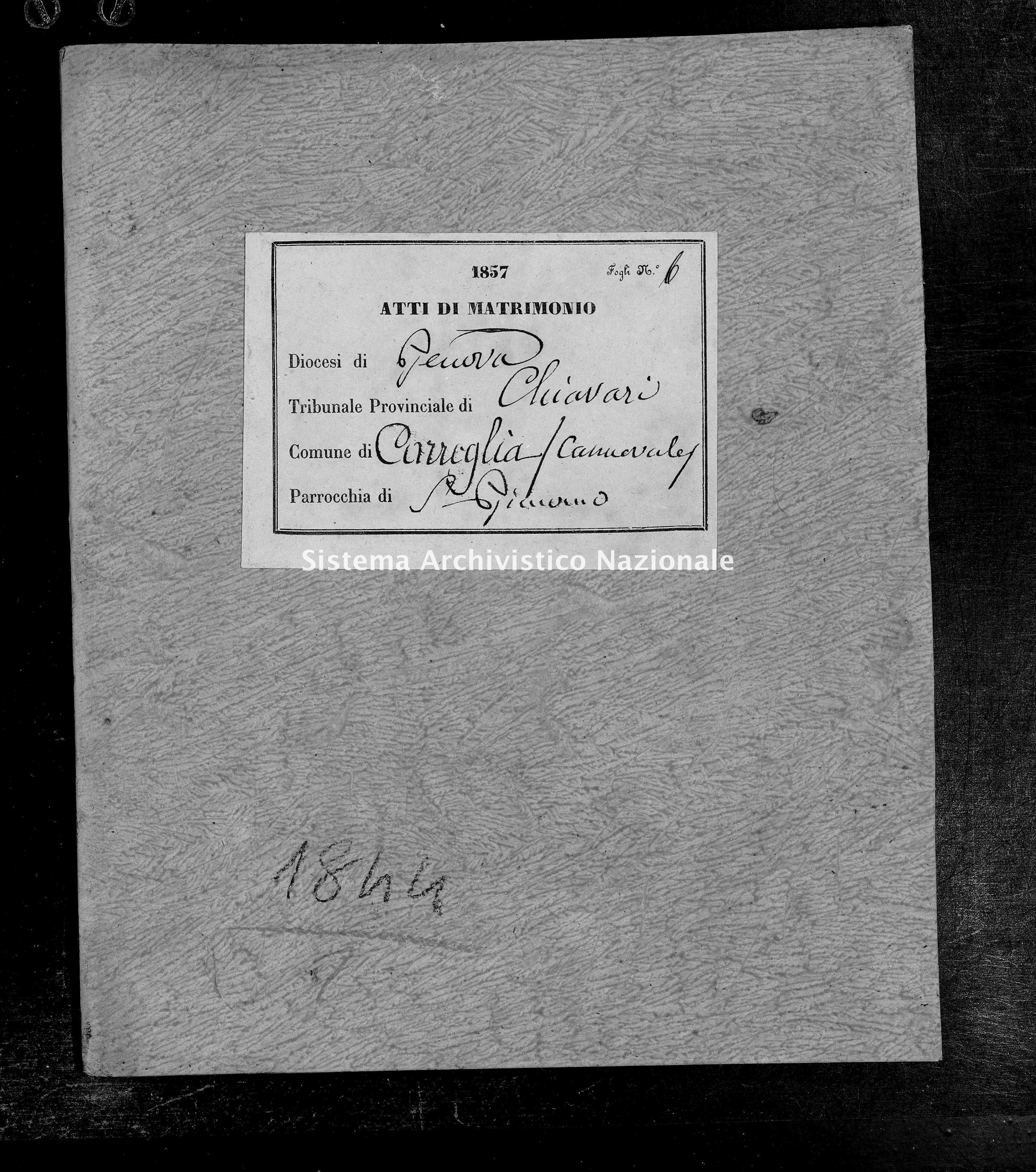 Archivio di stato di Genova - Stato civile della restaurazione - Canevale - Matrimoni - 1857 - 104-105 -