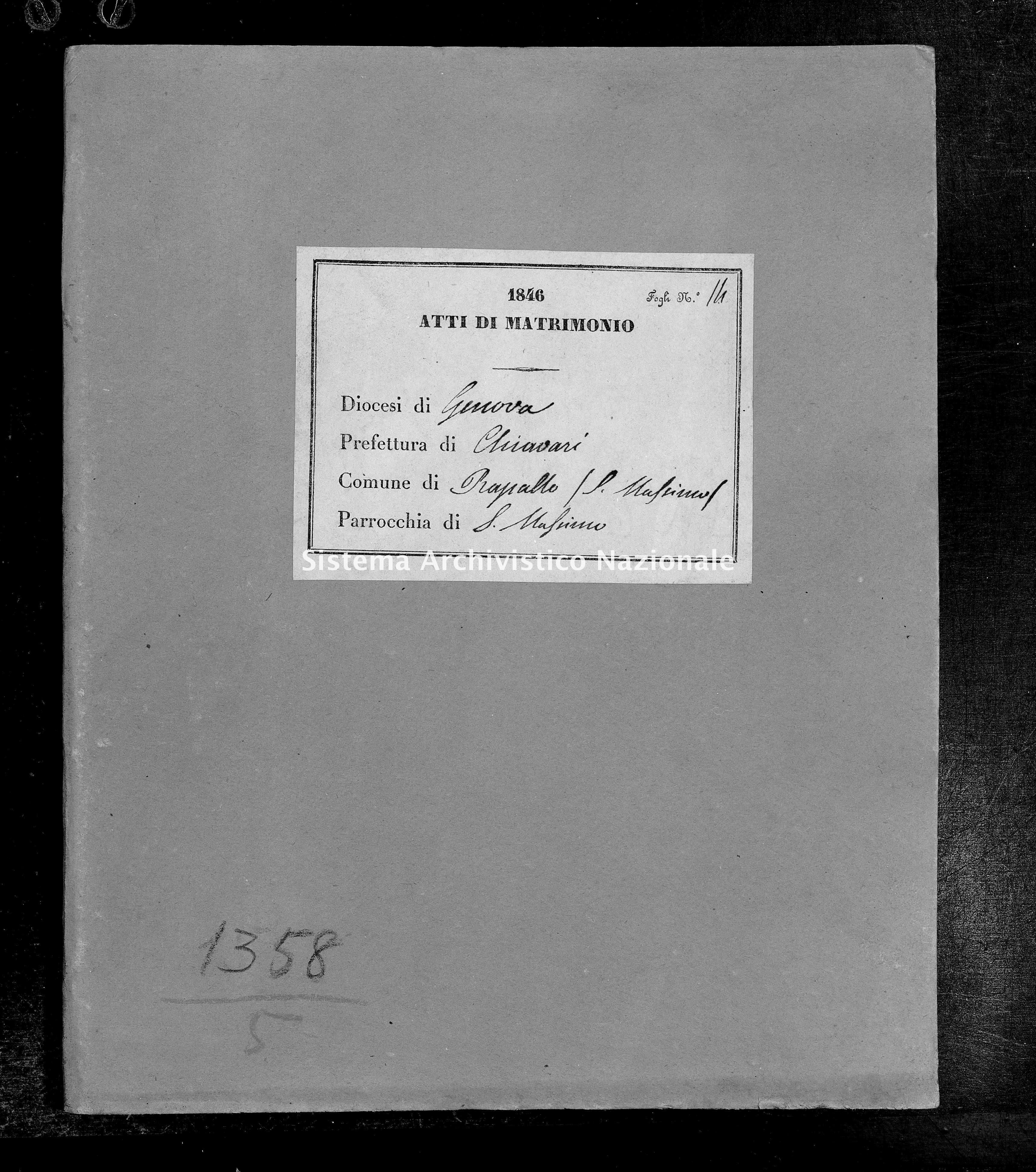 Archivio di stato di Genova - Stato civile della restaurazione - San Massimo - Matrimoni - 1846 - 81-82 -