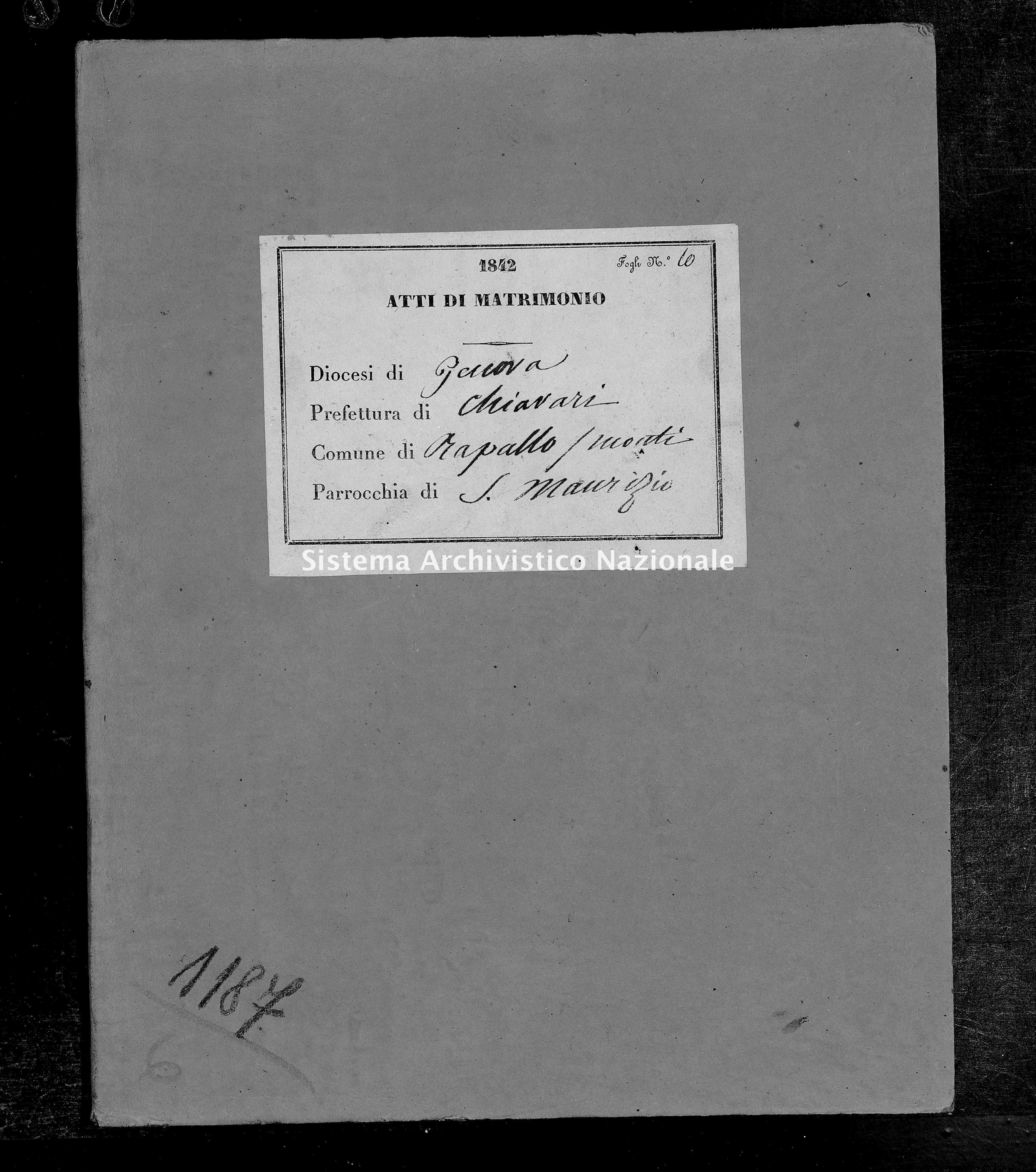Archivio di stato di Genova - Stato civile della restaurazione - San Maurizio di Monti - Matrimoni - 1842 - 73-74 -