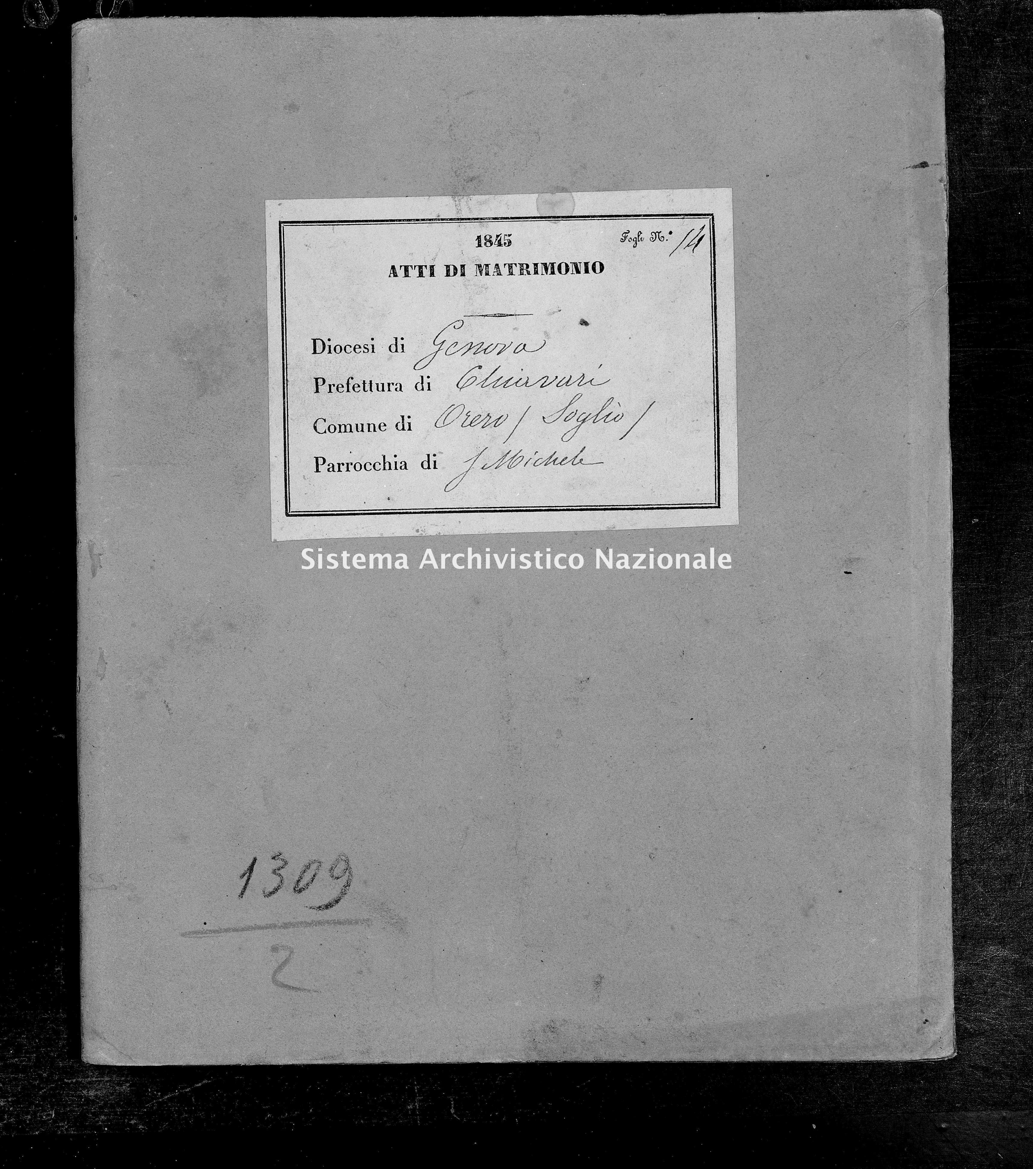 Archivio di stato di Genova - Stato civile della restaurazione - Soglio - Matrimoni - 1845 - 79-80 -