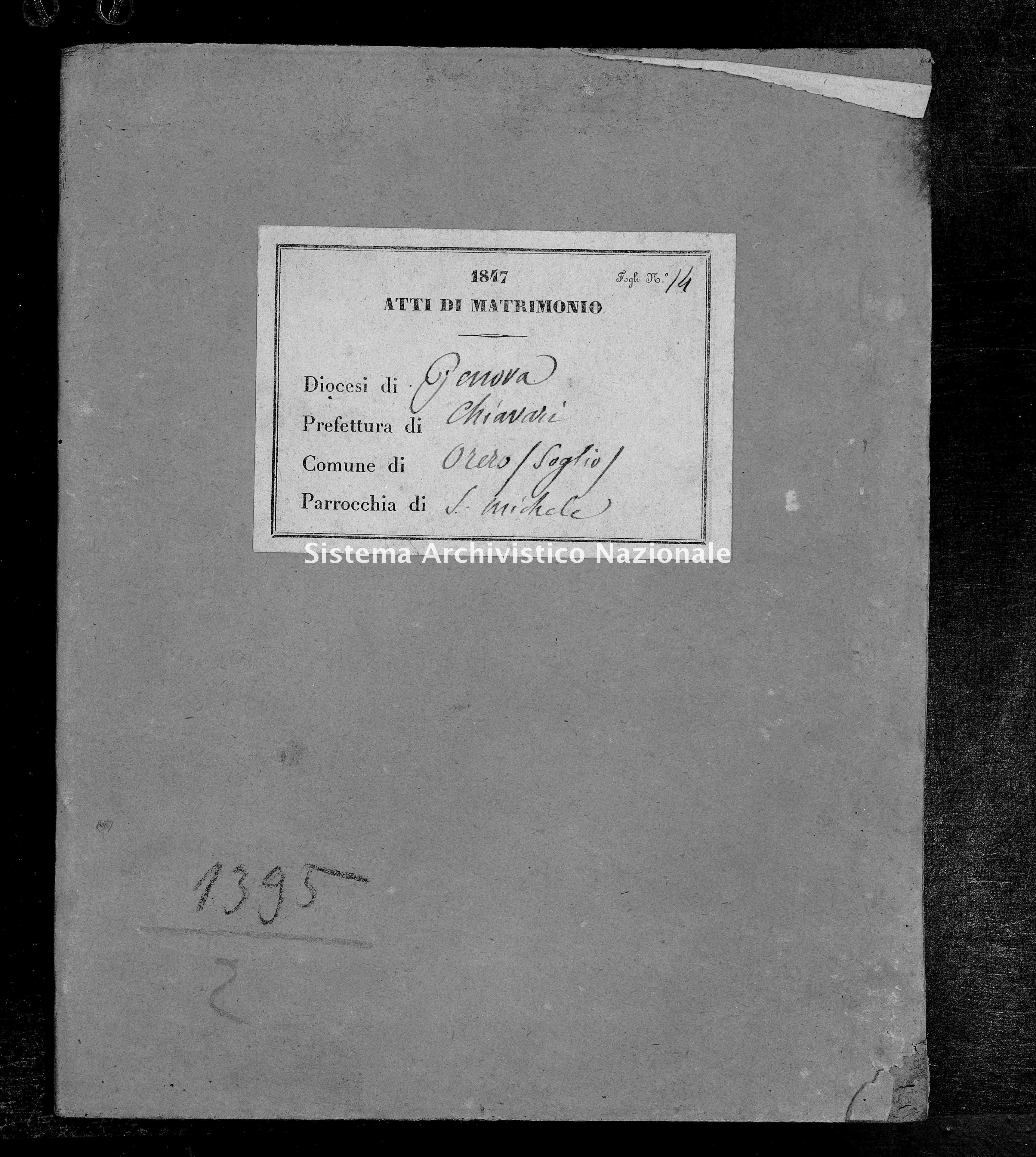 Archivio di stato di Genova - Stato civile della restaurazione - Soglio - Matrimoni - 1847 - 83-84 -