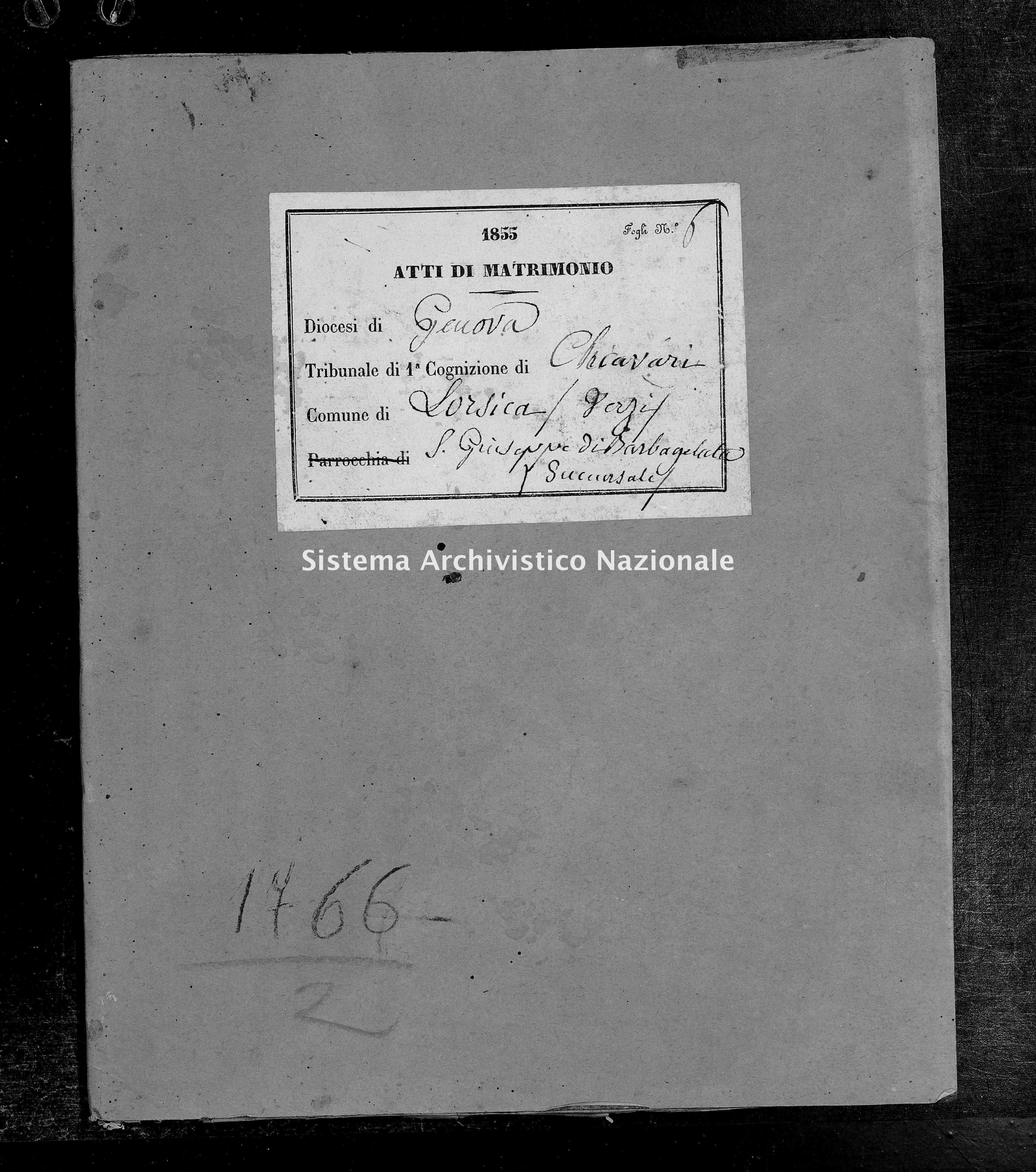 Archivio di stato di Genova - Stato civile della restaurazione - Verzi-(Parrocchia-di-San-Giuseppe-di-Barbagelata) - Matrimoni - 1855 - 100-101 -