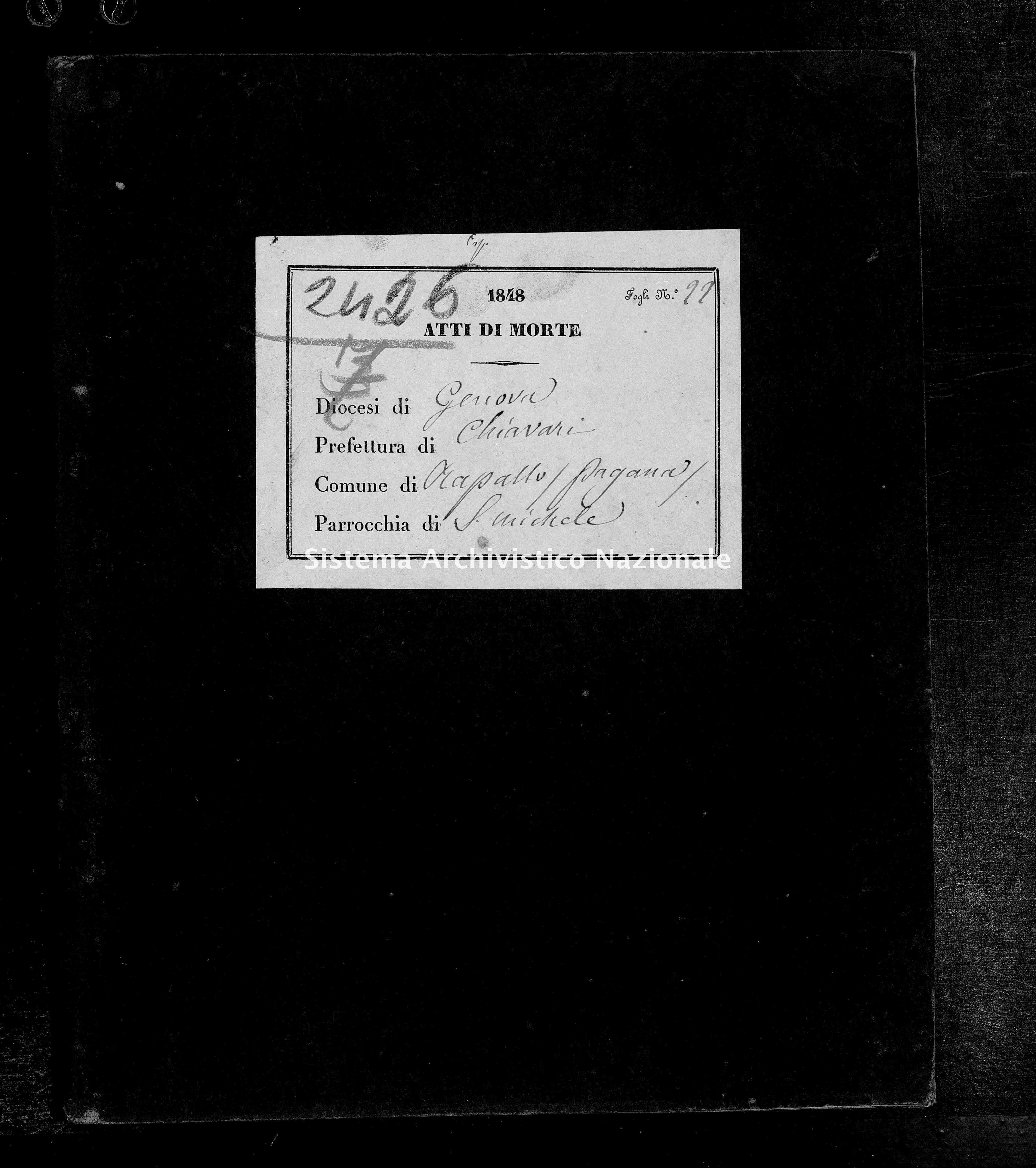 Archivio di stato di Genova - Stato civile della restaurazione - San Michele di Pagana - Morti - 1848 - 136-137 -